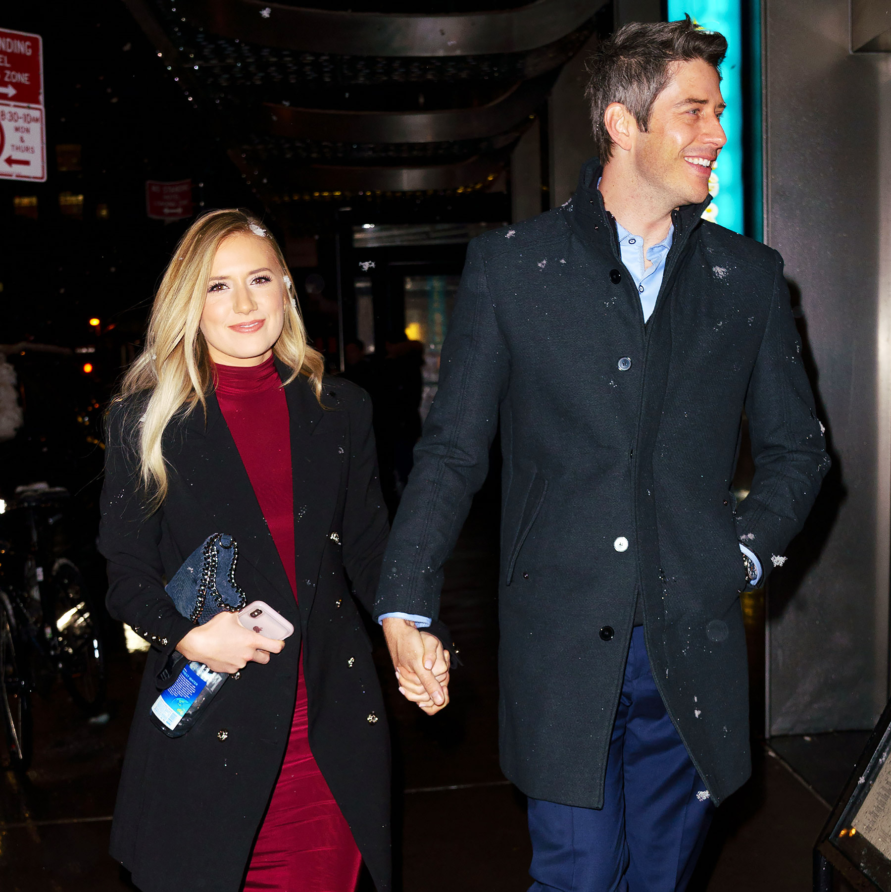 EXCLUSIVE: Newly-engaged 'Bachelor' star Arie Luyendyk and Lauren Burnham go for a romantic dinner at Megu in New York