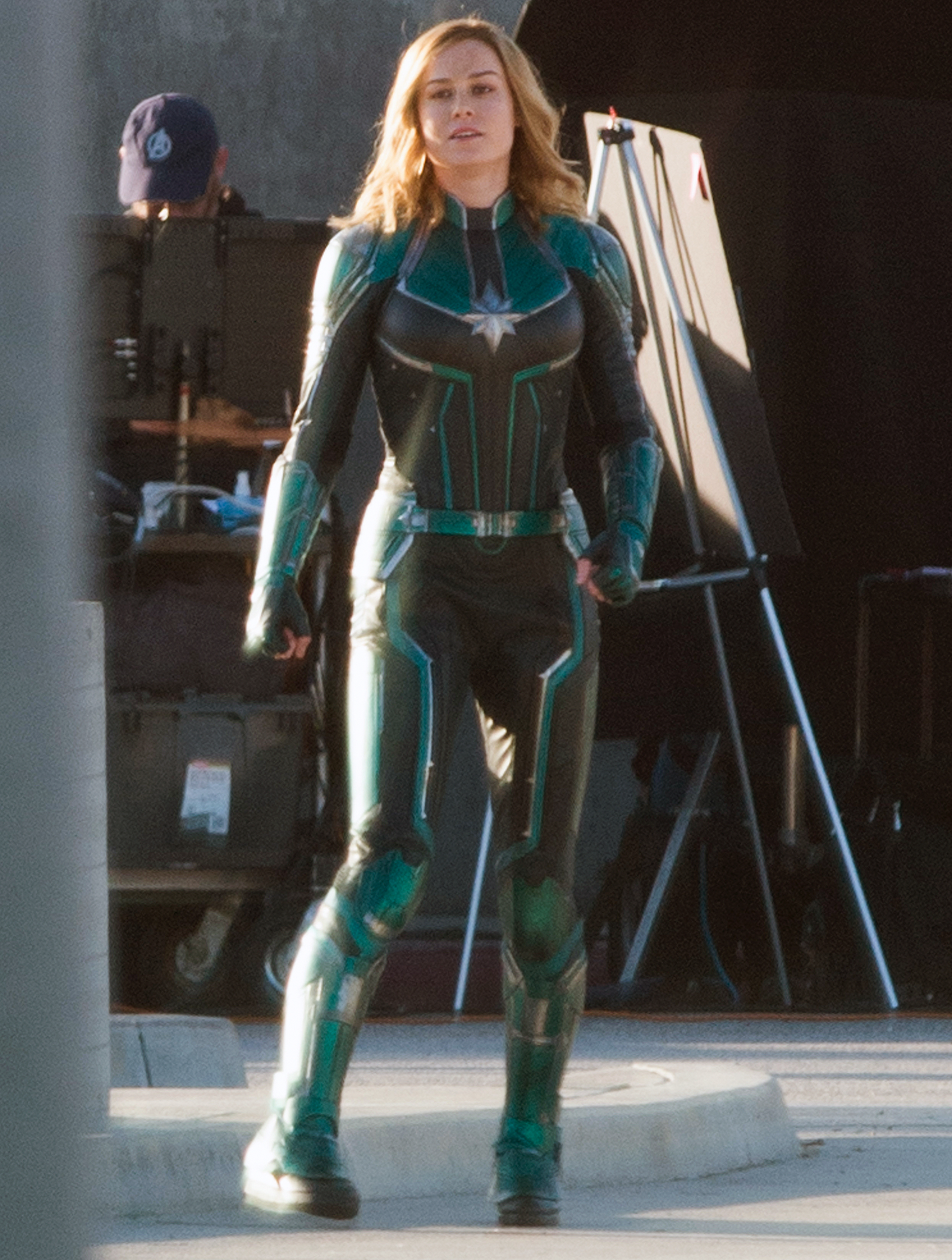 EXCLUSIVE: FIRST PICS! Brie Larson is Spotted in Costume as 'Captain Marvel' During the First Day of Filming in Los Angeles.