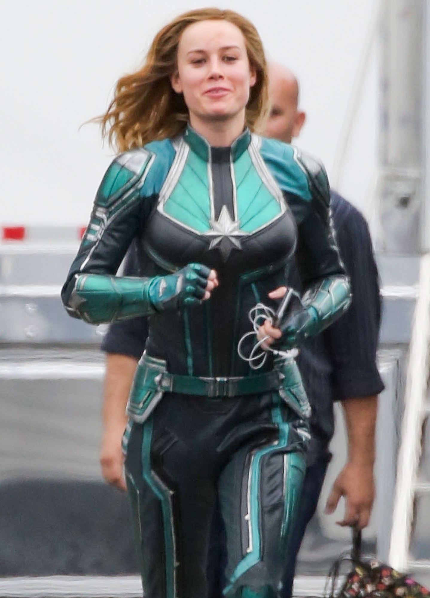 *EXCLUSIVE* Brie Larson is happy to see Jude Law on the set of 'Captain Marvel'