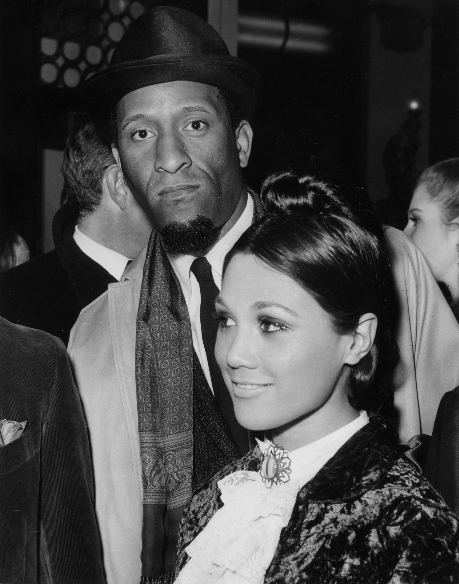 Sonny Rollins and actress Edwina Carol at the London premiere of 'Alfie,' for which Rollins composed the music