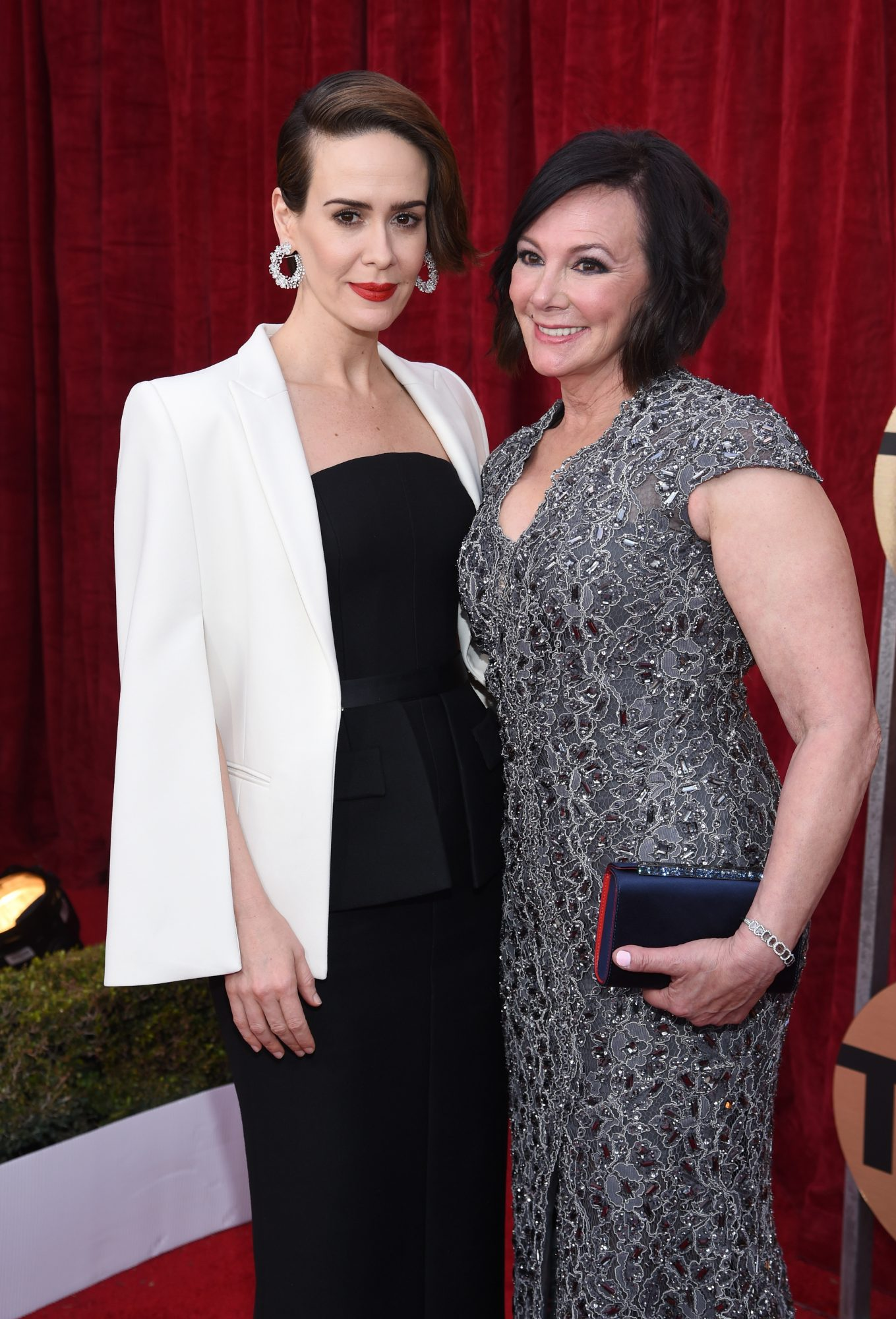 LOS ANGELES, CA - JANUARY 29: Actor Sarah Paulson (L) and Marcia Clark attend The 23rd Annual Screen Actors Guild Awards at The Shrine Auditorium on January 29, 2017 in Los Angeles, California. 26592_009 (Photo by Dimitrios Kambouris/Getty Images for TNT)
