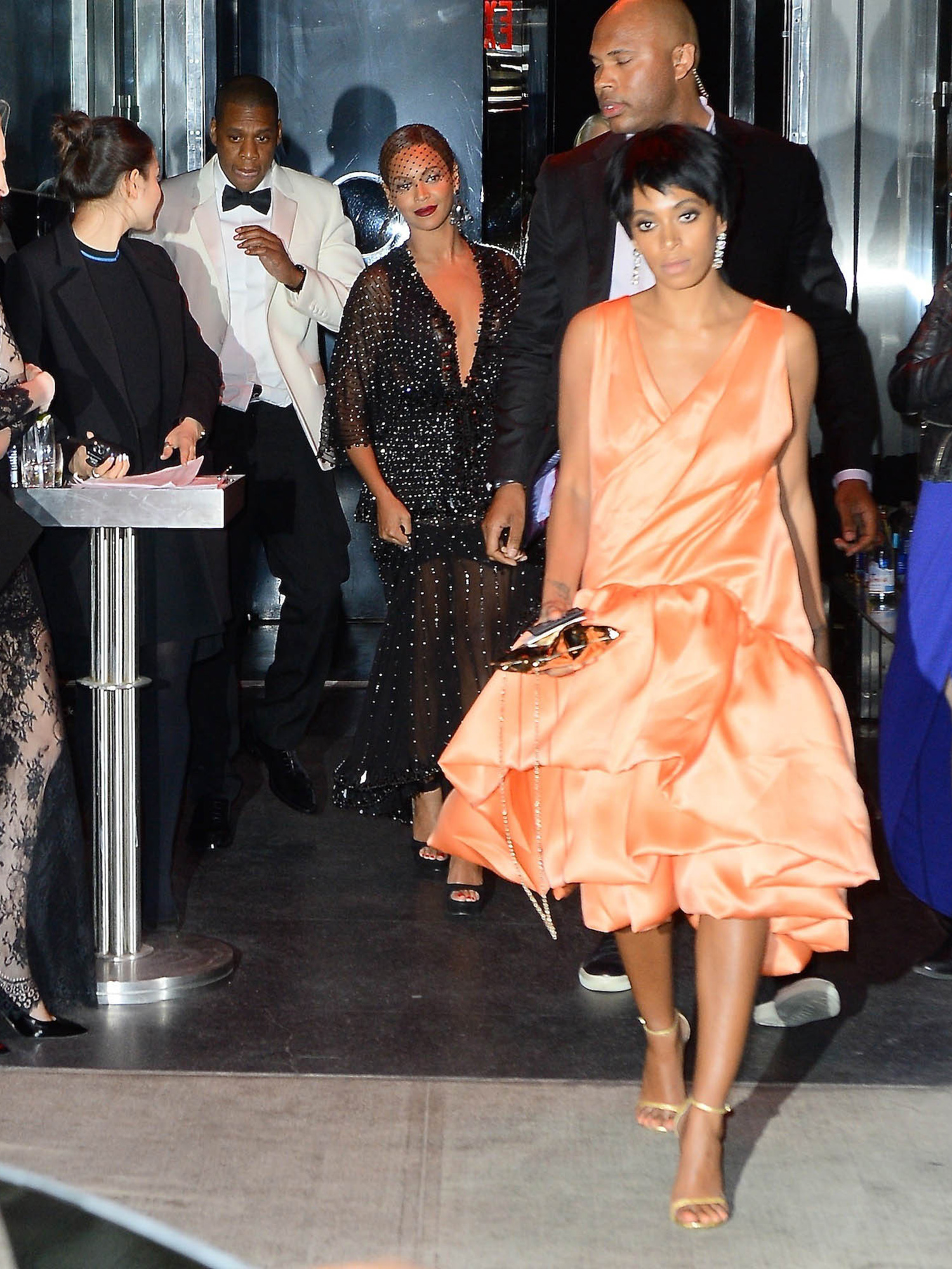 Beyonce, Jay-Z and Solange Knowles were seen leaving the Met Gala After Party at the Boom Boom Room in the Meatpacking District. Pictured: Jay-Z , Beyonce, Solange Knowles Ref: SPL752015 060514 Picture by: Splash News Splash News and Pictures Los Angeles: 310-821-2666 New York: 212-619-2666 London: 870-934-2666 photodesk@splashnews.com
