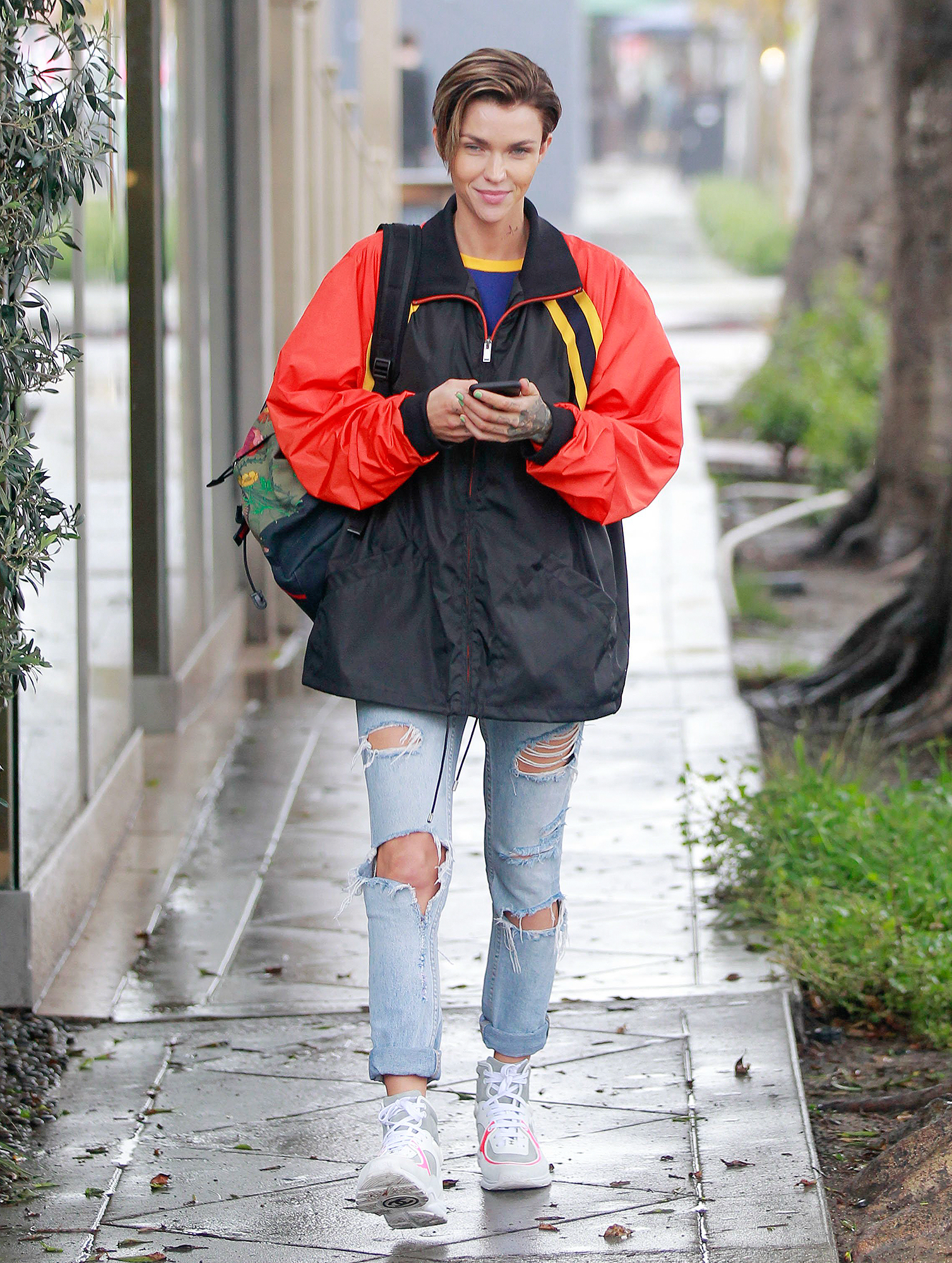 EXCLUSIVE: Ruby Rose after afternoon coffee date in the rain in west hollywood