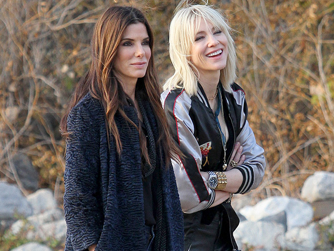 Sandra Bullock and Cate Blanchett film their latest movie with an all female cast 'Ocean's 8' in Brooklyn