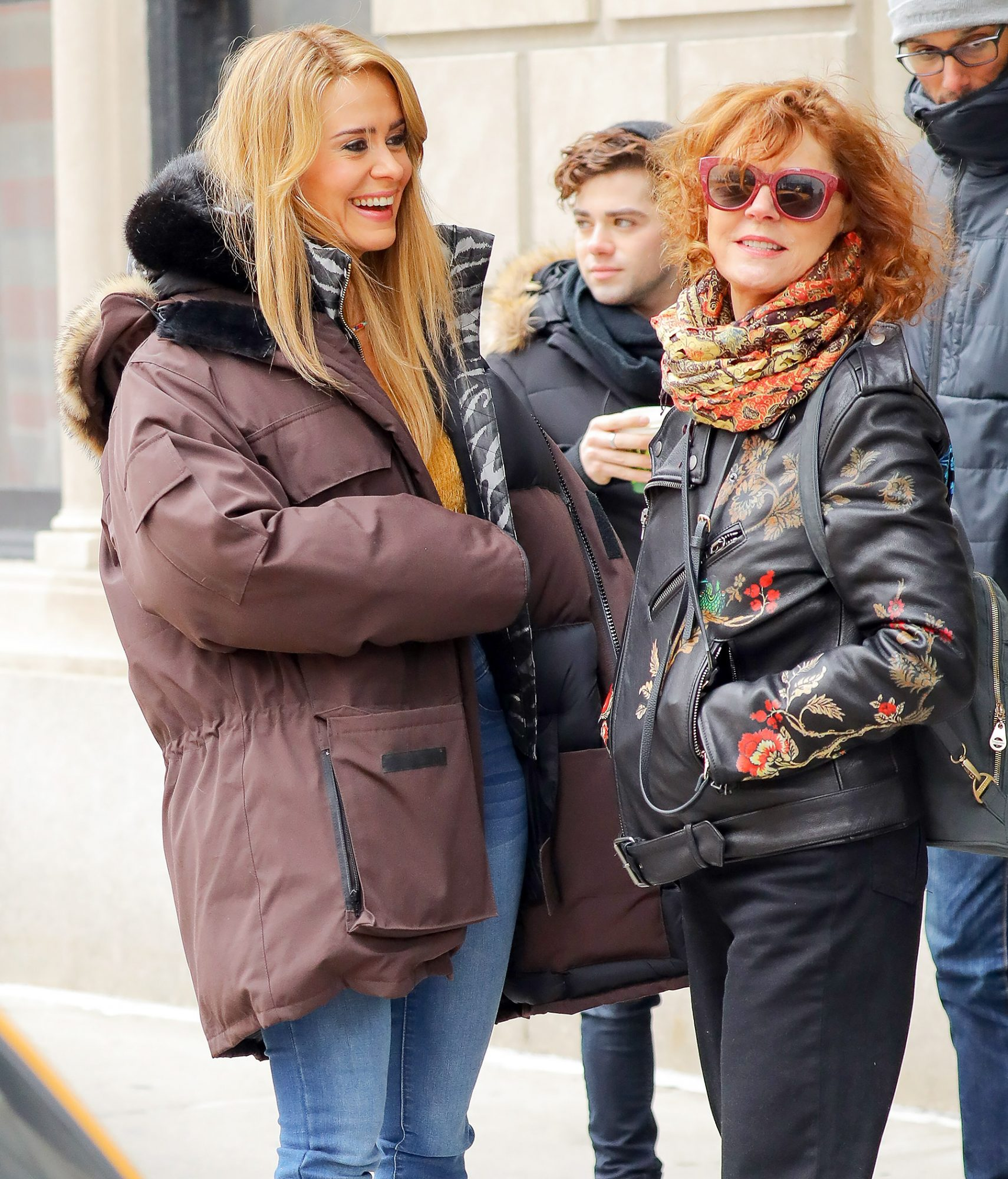 Sarah Paulson and Susan Sarandon chat during a break of 'The Goldfinch' in New York City