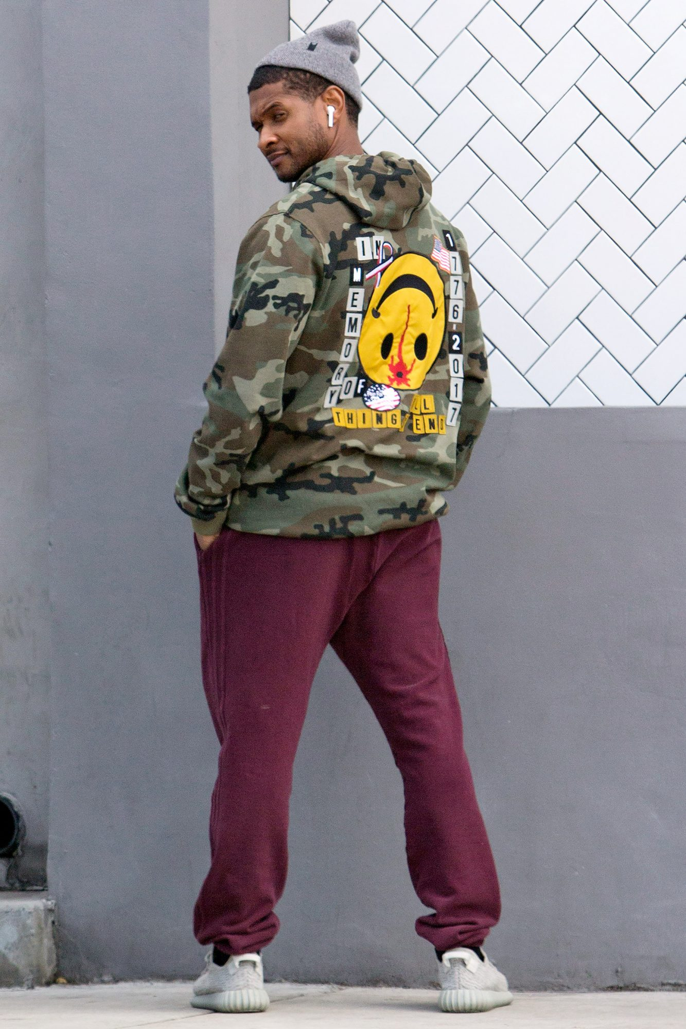 EXCLUSIVE: Usher seen for the first tim since announcing his divorce makes a Political Statement on the back of his jacket as he was seen leaving lunch at 'Crossroads' in West Hollywood, CA