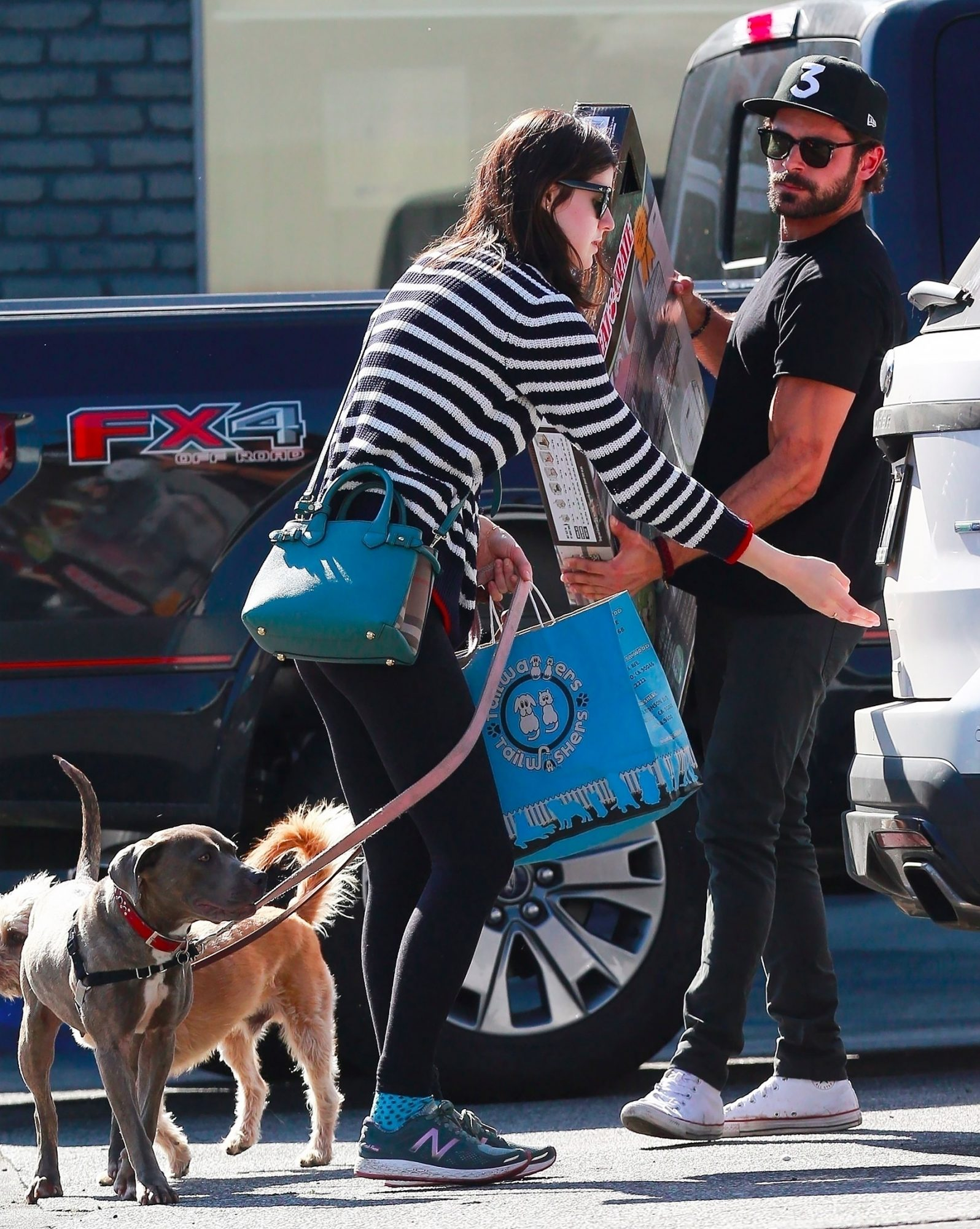 *EXCLUSIVE*  Zac Efron and Alexandra Daddario have a double dog date*WEB MUST CALL FOR PRICING*