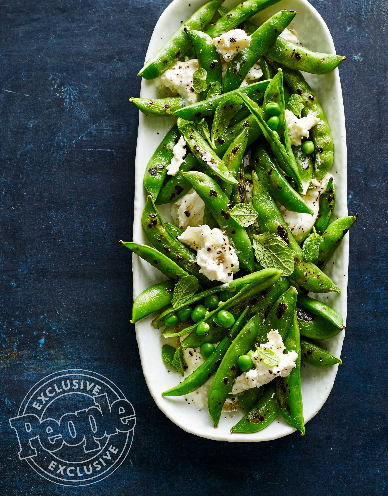 BLISTERED SNAP PEAS WITH BURRATA & MINT
