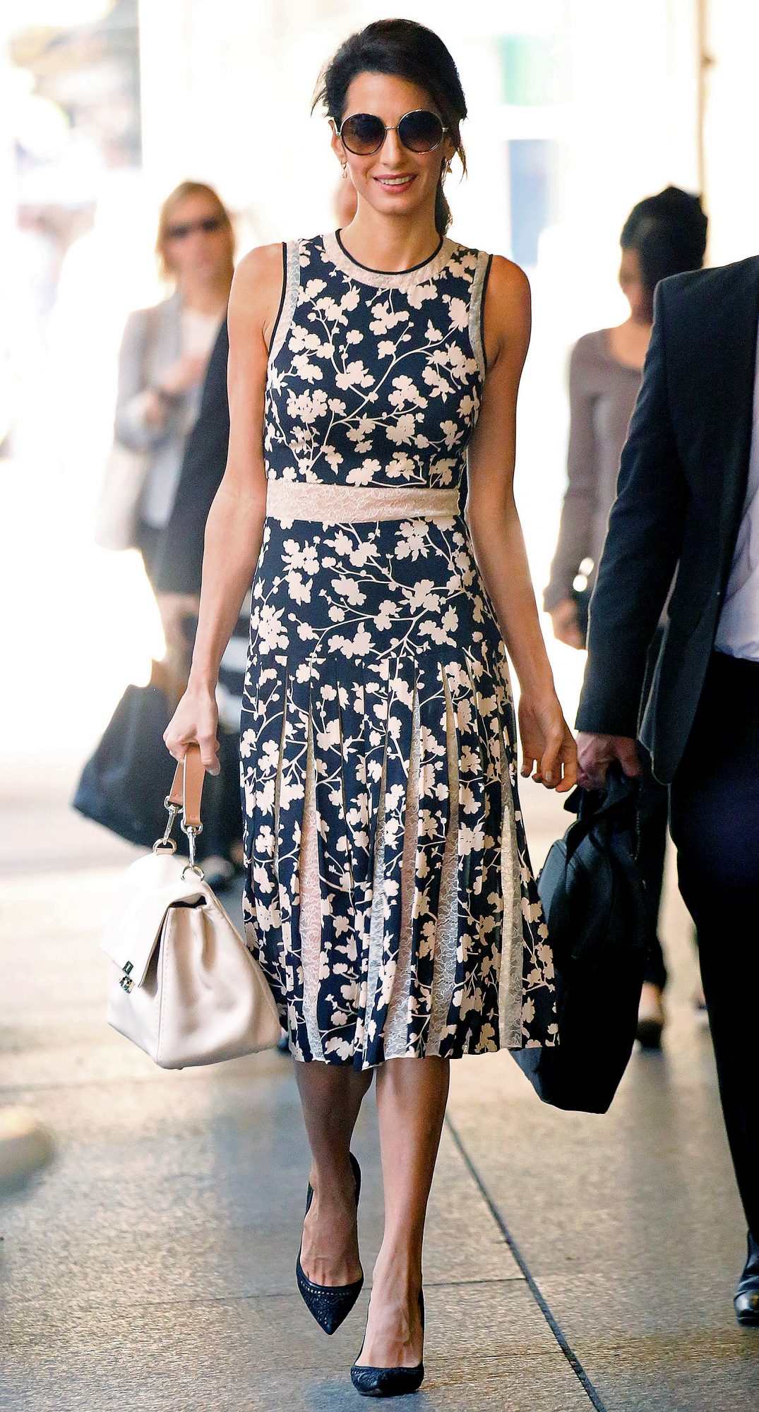 EXCLUSIVE: Amal Clooney spotted wearing a Black & Beige Floral Print Dress while out and about in New York City