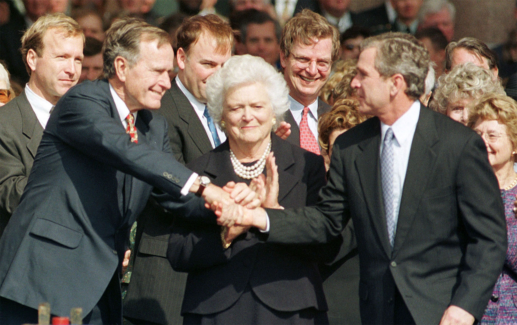 Texas Governor George W. Bush is congratulated