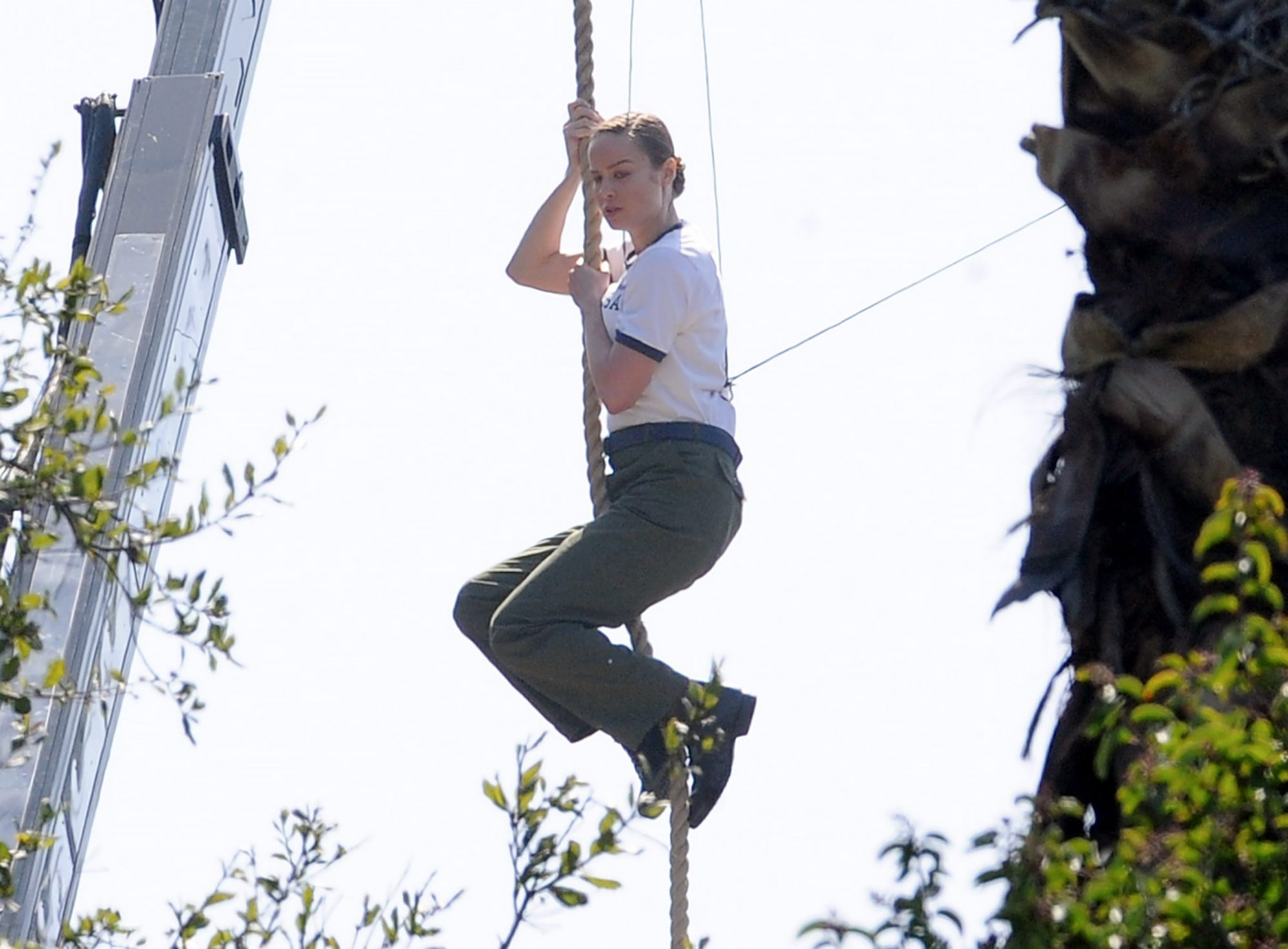 Brie Larson hanging by the ropes