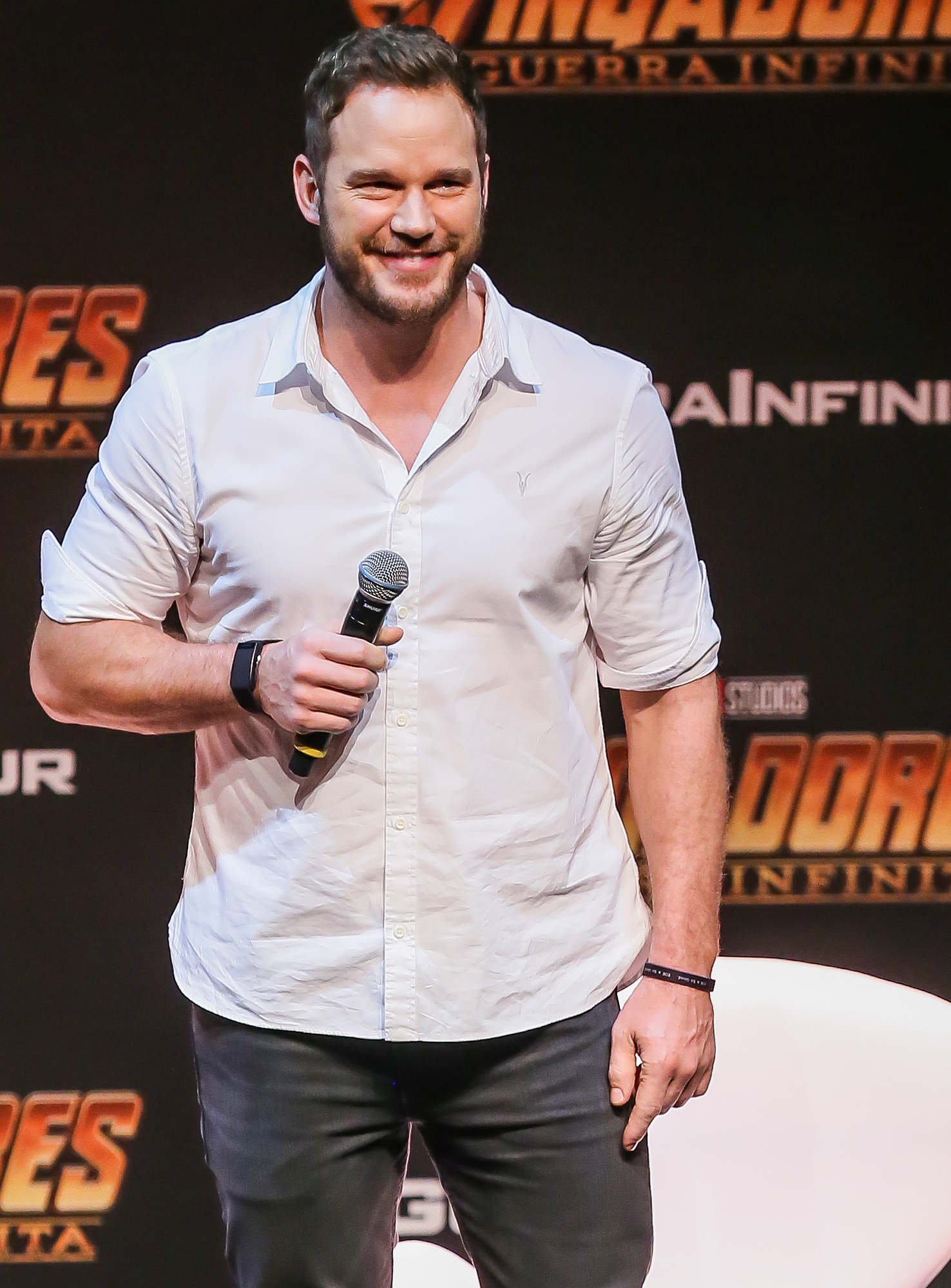 Chris Pratt attends the Sao Paulo Fan Event of Avengers: Infinity War at Auditorio do Ibirapuera on April 4th, 2018 in Sao Paulo, Brazil.