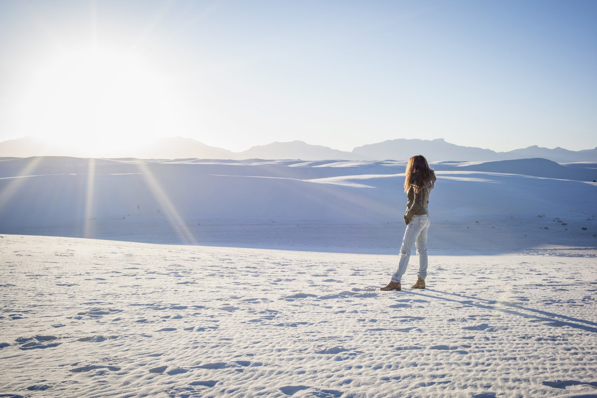 Caucasian woman standing in White Sands National Park, New Mexico, United States