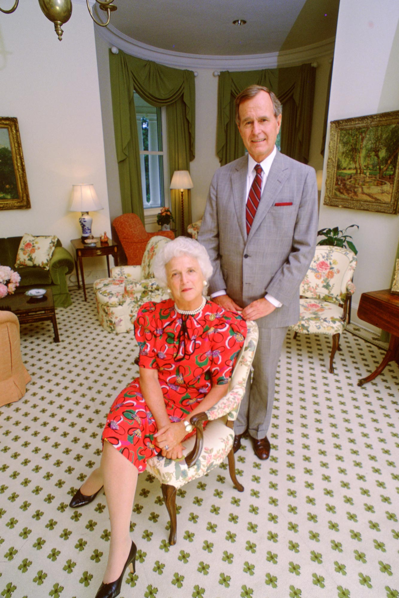 Vice President George H.W. Bush and Barbara Bush at the Vice President's Residence