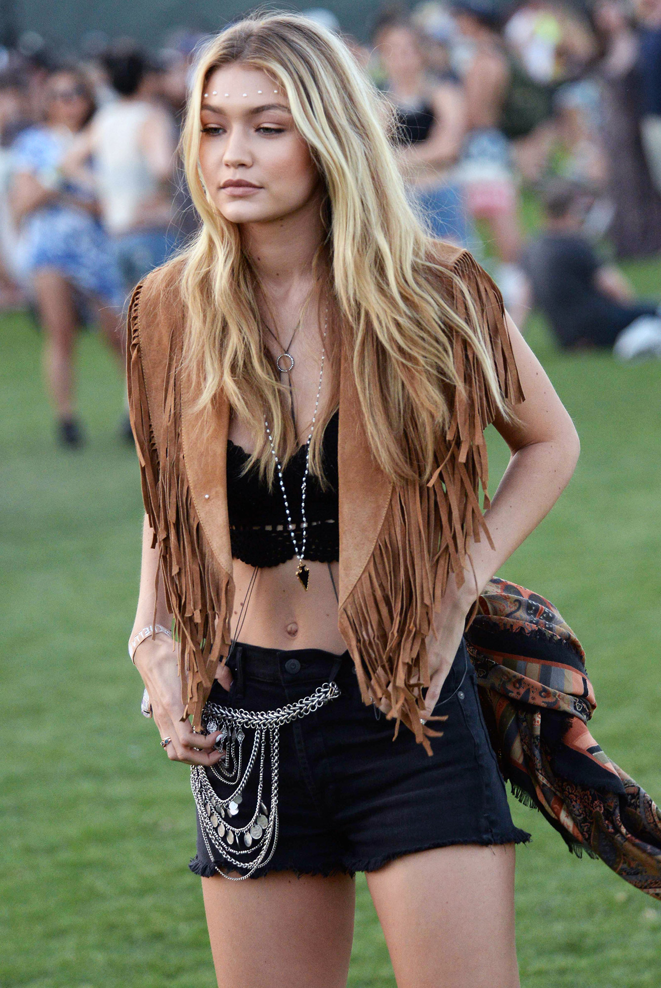 Gigi Hadid  looking very fashionable as she is spotted on Day 2 of the Coachella Music Festival in Indio, Ca