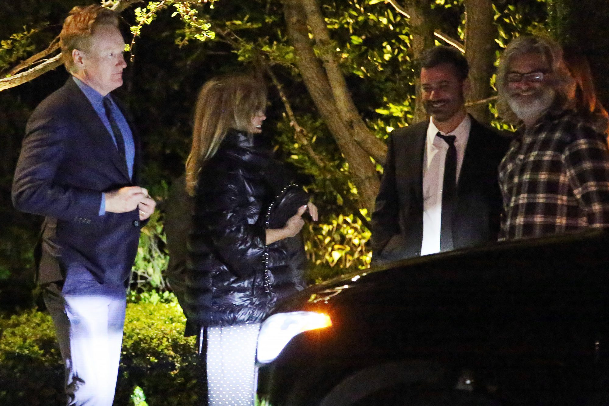EXCLUSIVE: Kurt Russell, Goldie Hawn, Martin Short, Jimmy Kimmel And Conan O'Brien are seen wanting outside for their cars after attending Tom Hanks and Rita Wilson's 30th Anniversary