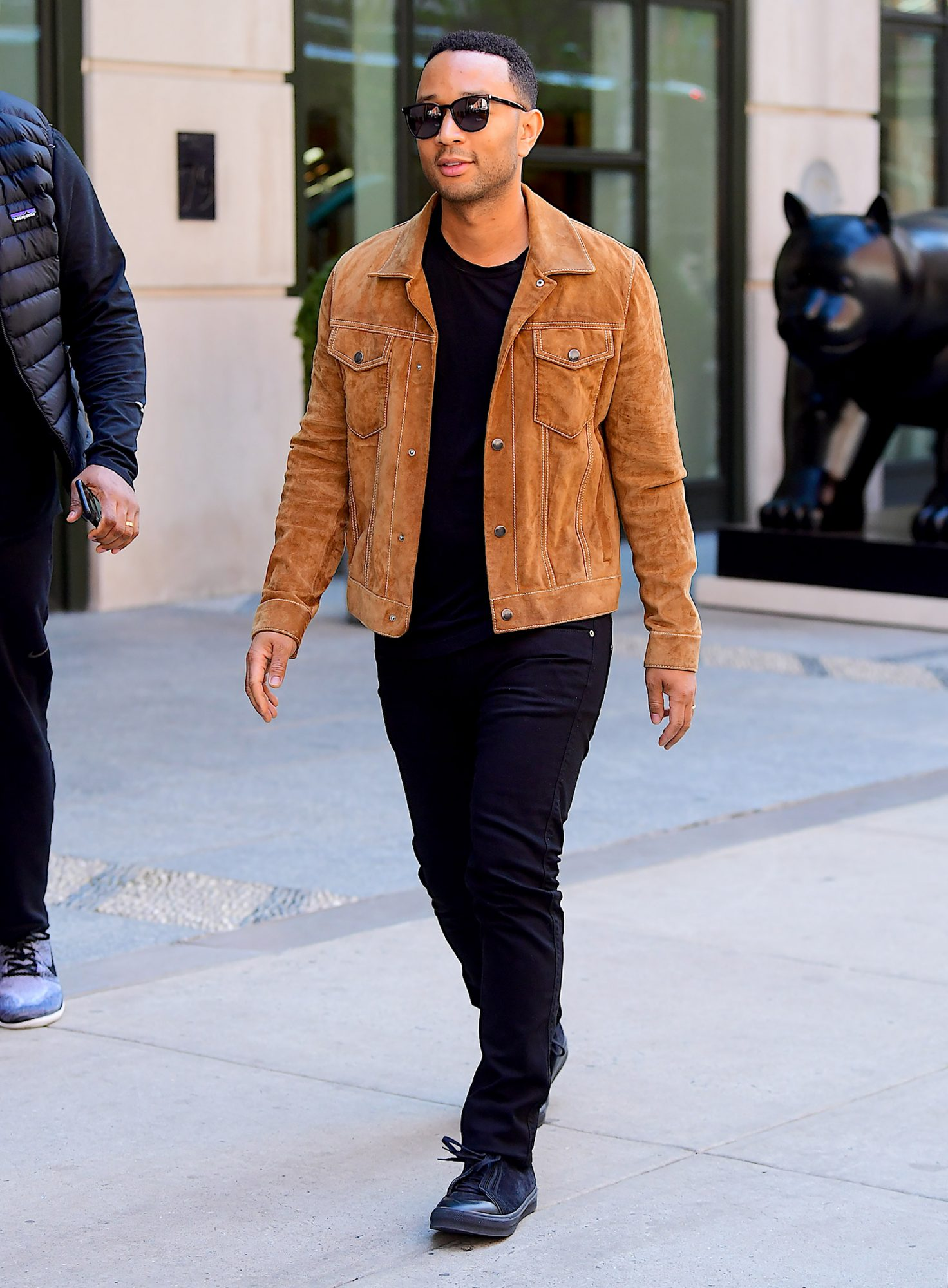 EXCLUSIVE: John Legend Steps Out in NYC Looking Sharp in Western Style Suede Jacket