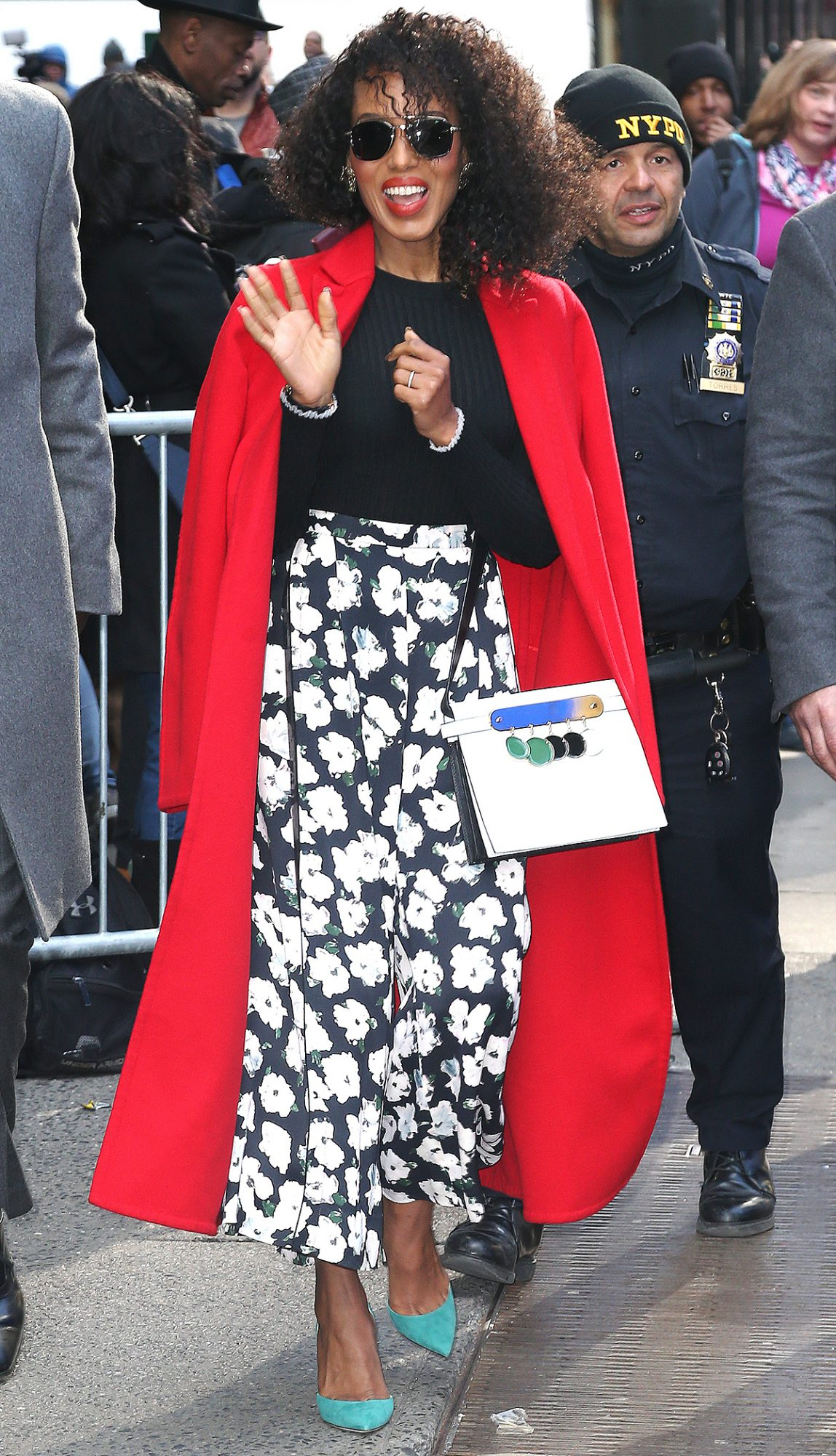 Kerry Washington at Good Morning America in a Pair of Floral Trousers
