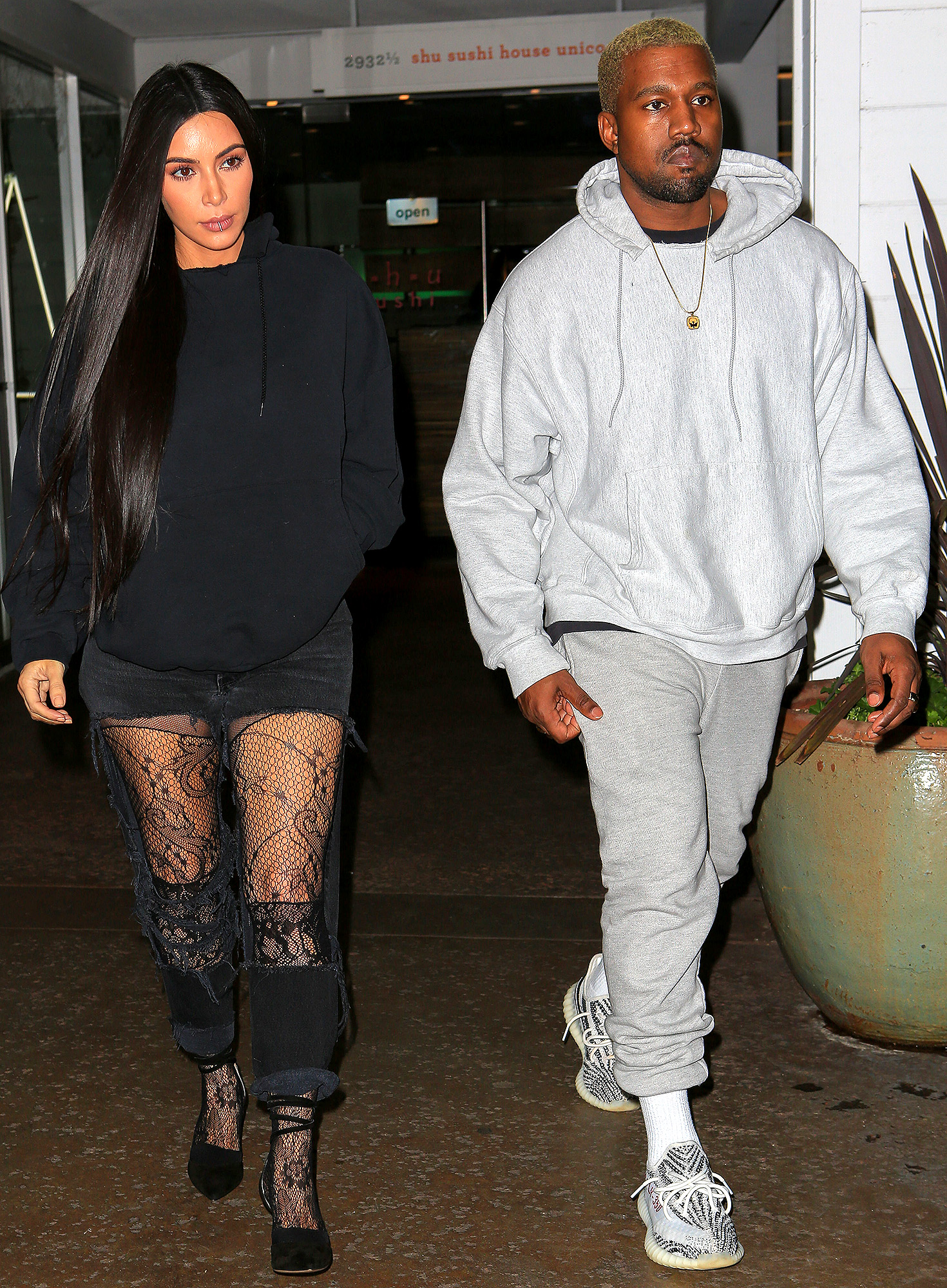 PREMIUM EXCLUSIVE Kim and Kanye celebrate at sushi restaurant after arrest of robbers in Paris