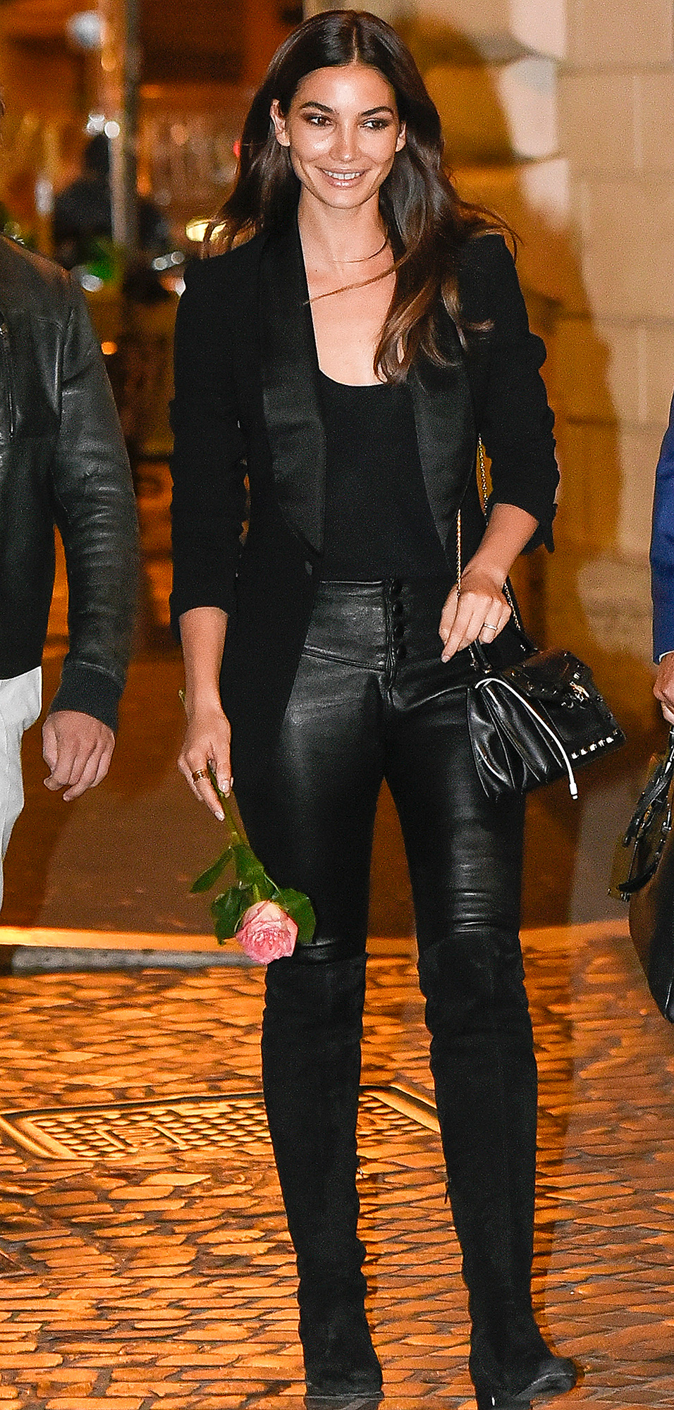 Lily Aldridge and husband dinner in Rome