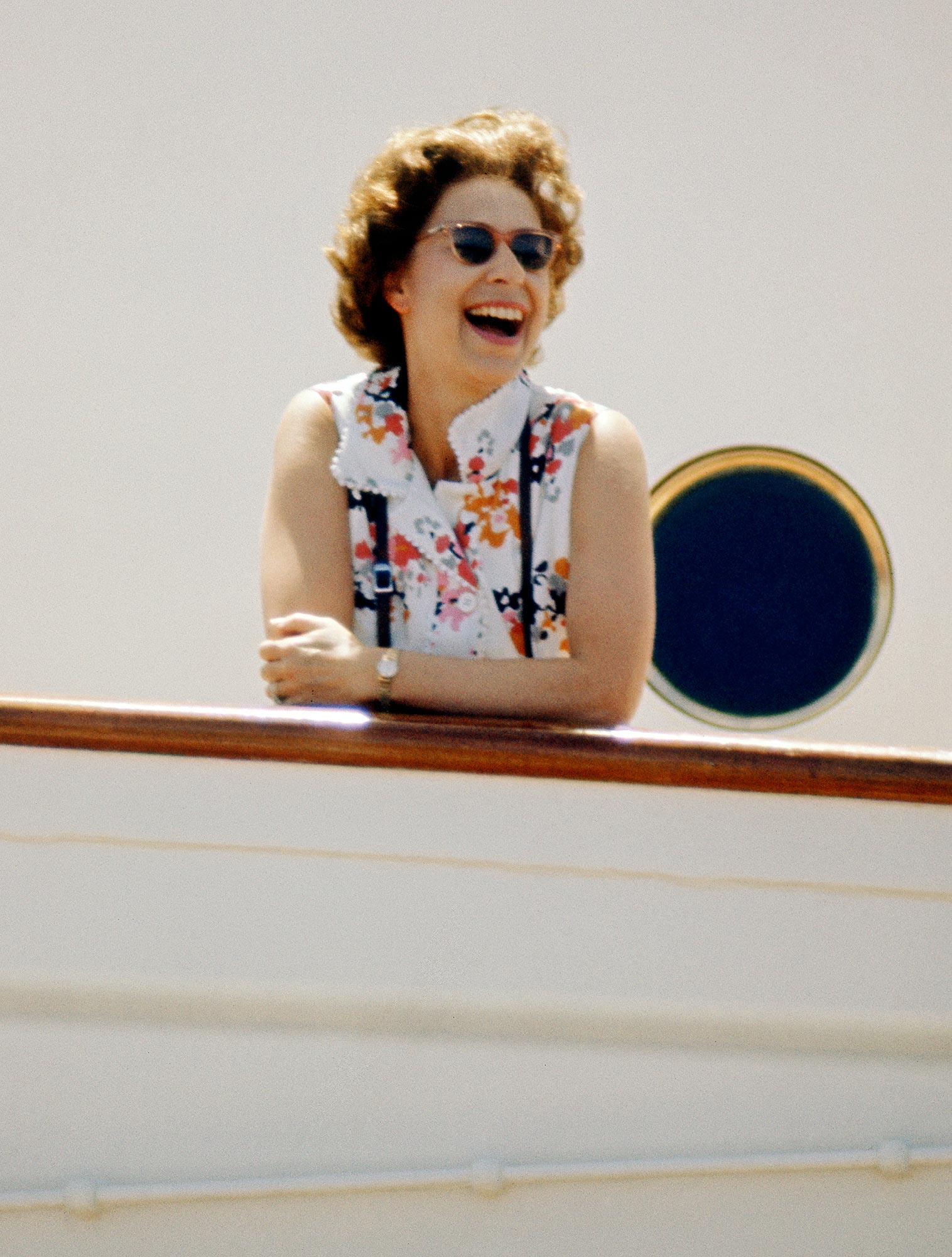 The Queen on board HMY Britannia