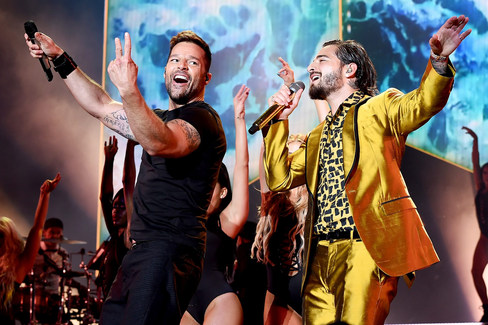 Maluma With Special Guest Ricky Martin Performs At The Forum