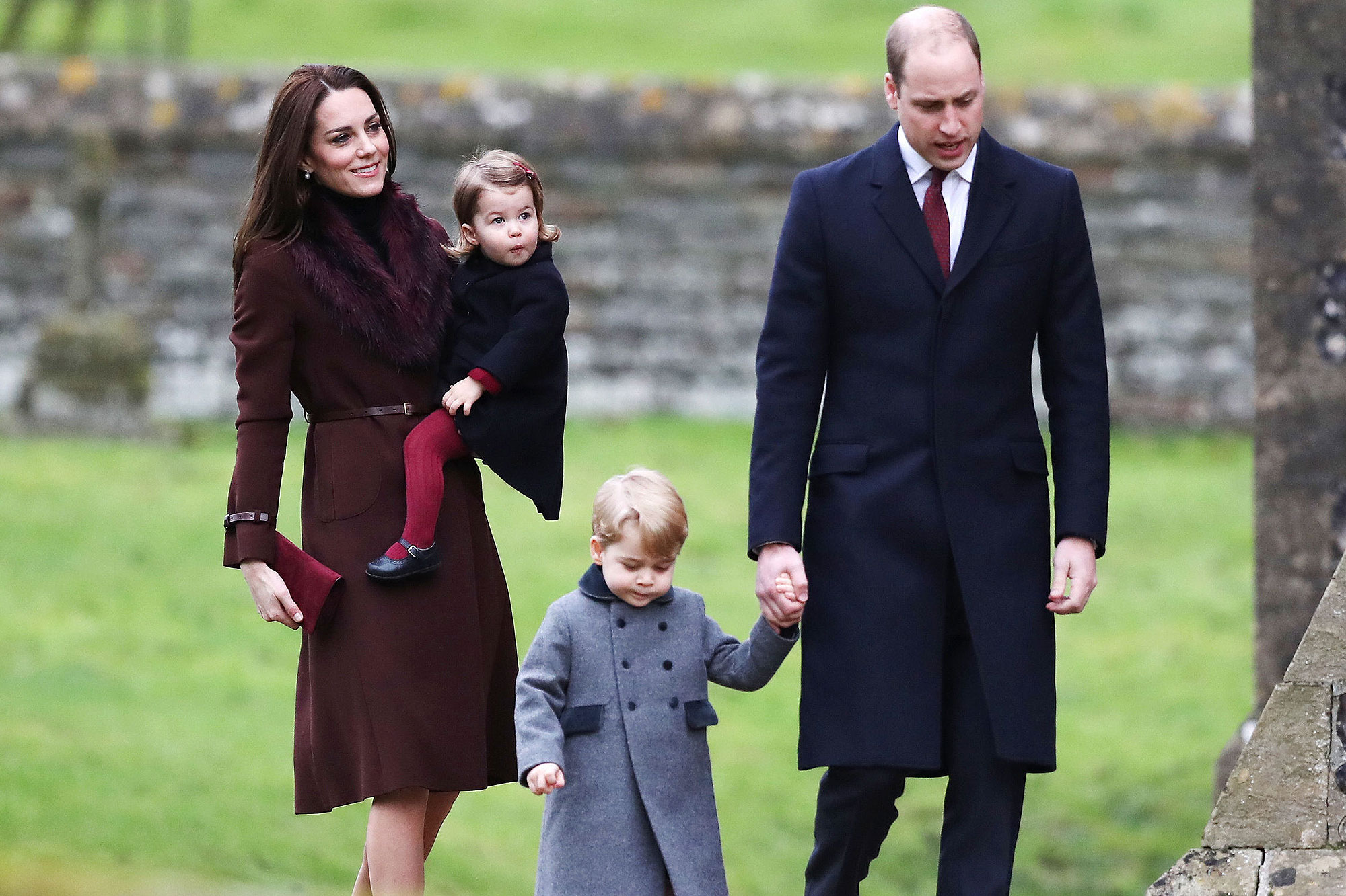 Royals attends Christmas Day Church service. The Duke and Duchess of Cambridge, Prince George and Princess Charlotte arrive to attend the morning Christmas Day service at St Mark's Church in Englefield, Berkshire. Picture date: Sunday December 25, 2016. See PA story ROYAL Christmas. Photo credit should read: Andrew Matthews/PA Wire URN:29550540