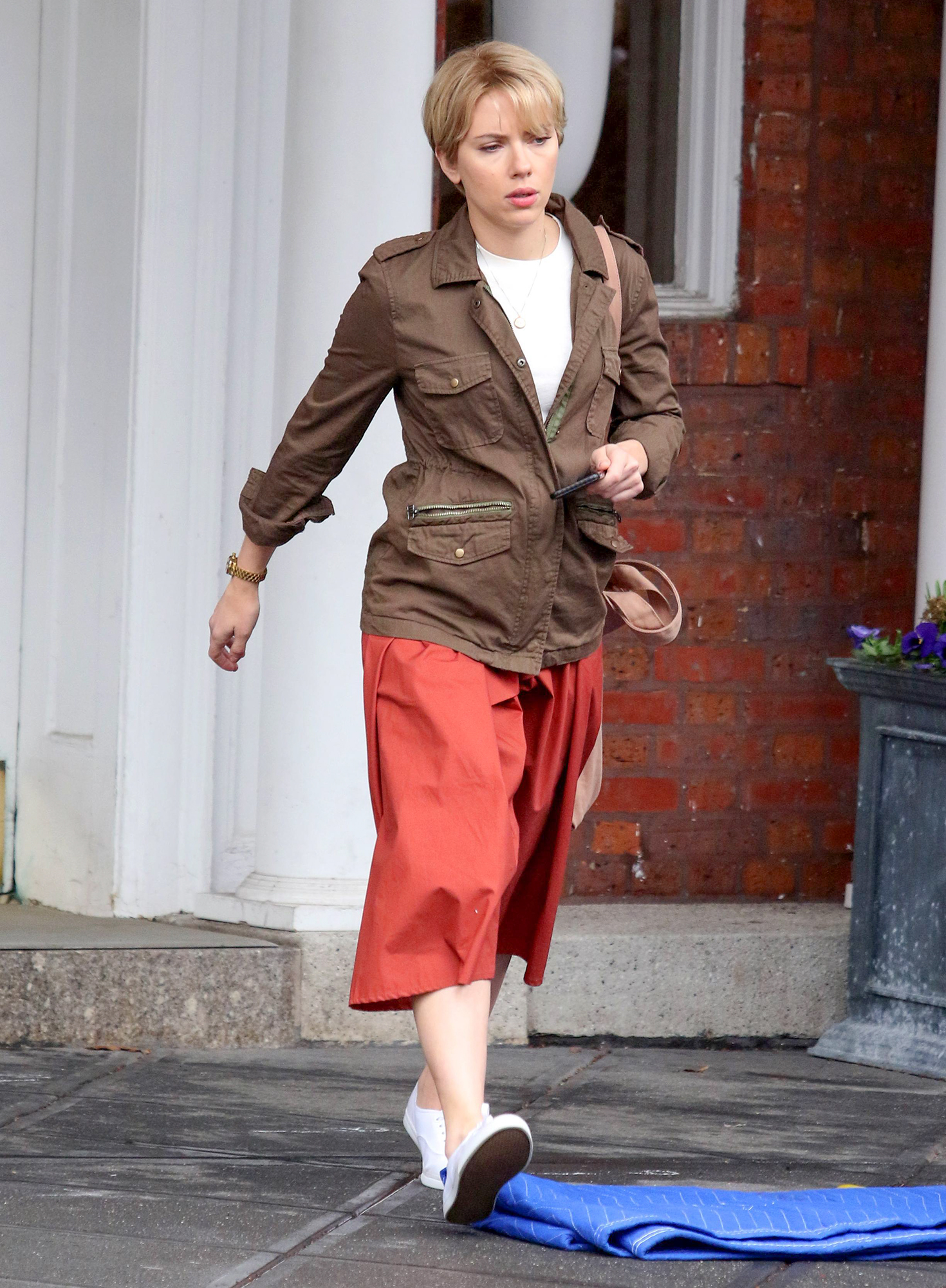 Scarlett Johansson sports conservative clothes and short blonde hair while filming scenes with Adam Driver for the upcoming 'Noah Baumbach's Untitled Movie Project' in Brooklyn's Park Slope