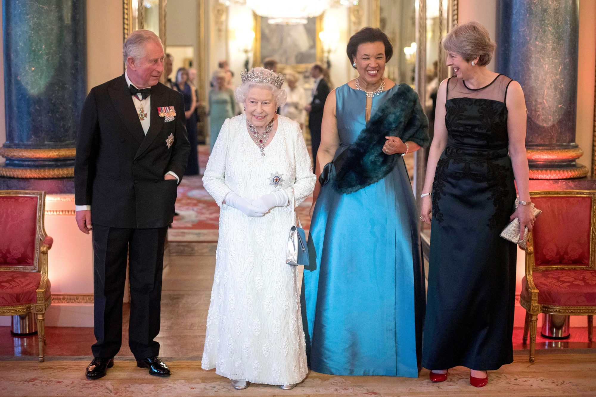 The Queen's Dinner, Commonwealth Heads of Government Meeting, London, UK - 19 Apr 2018
