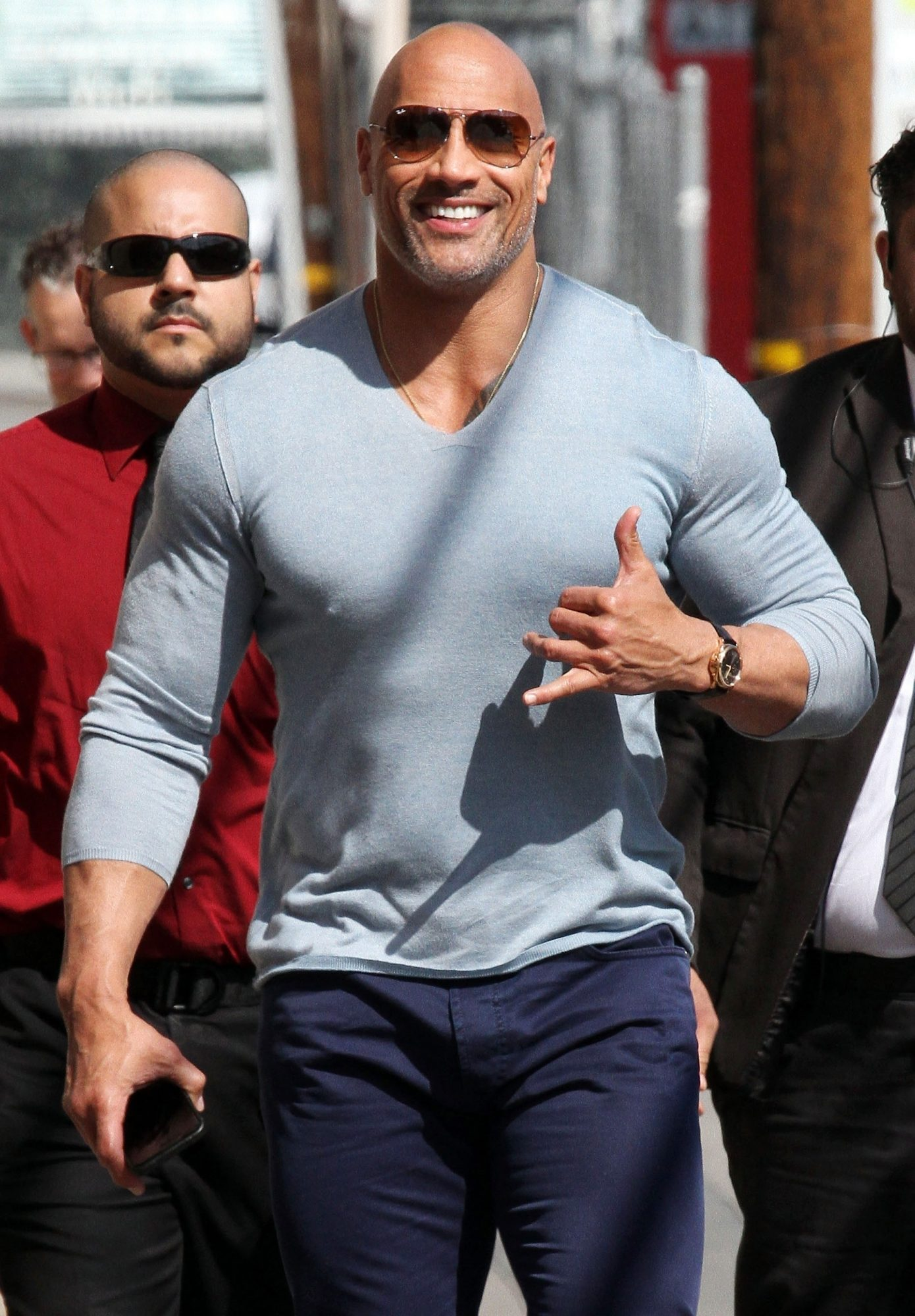Dwayne Johnson heads into Jimmy Kimmel Live!