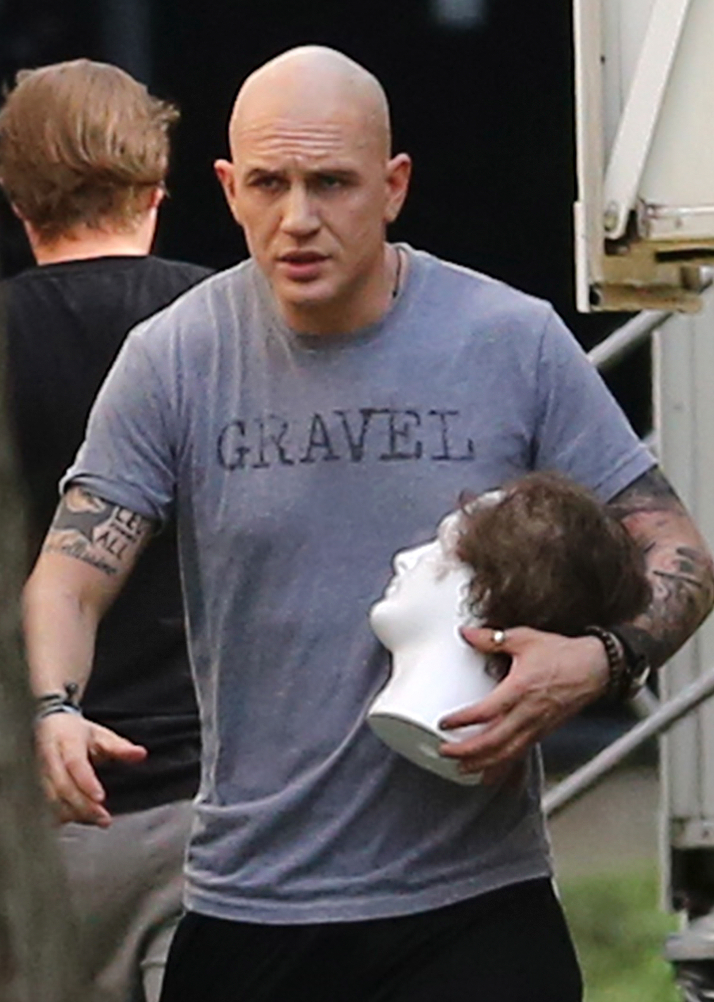 EXCLUSIVE: *NO WEB UNTIL 3PM PST 3RD APRIL* First photos of a skinhead Tom Hardy on the set of his new Al Capone movie