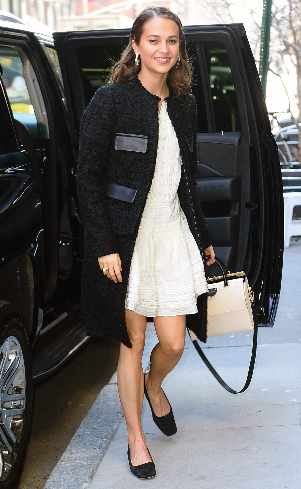 Alicia Vikander arrives at AOL Build Series in NYC.