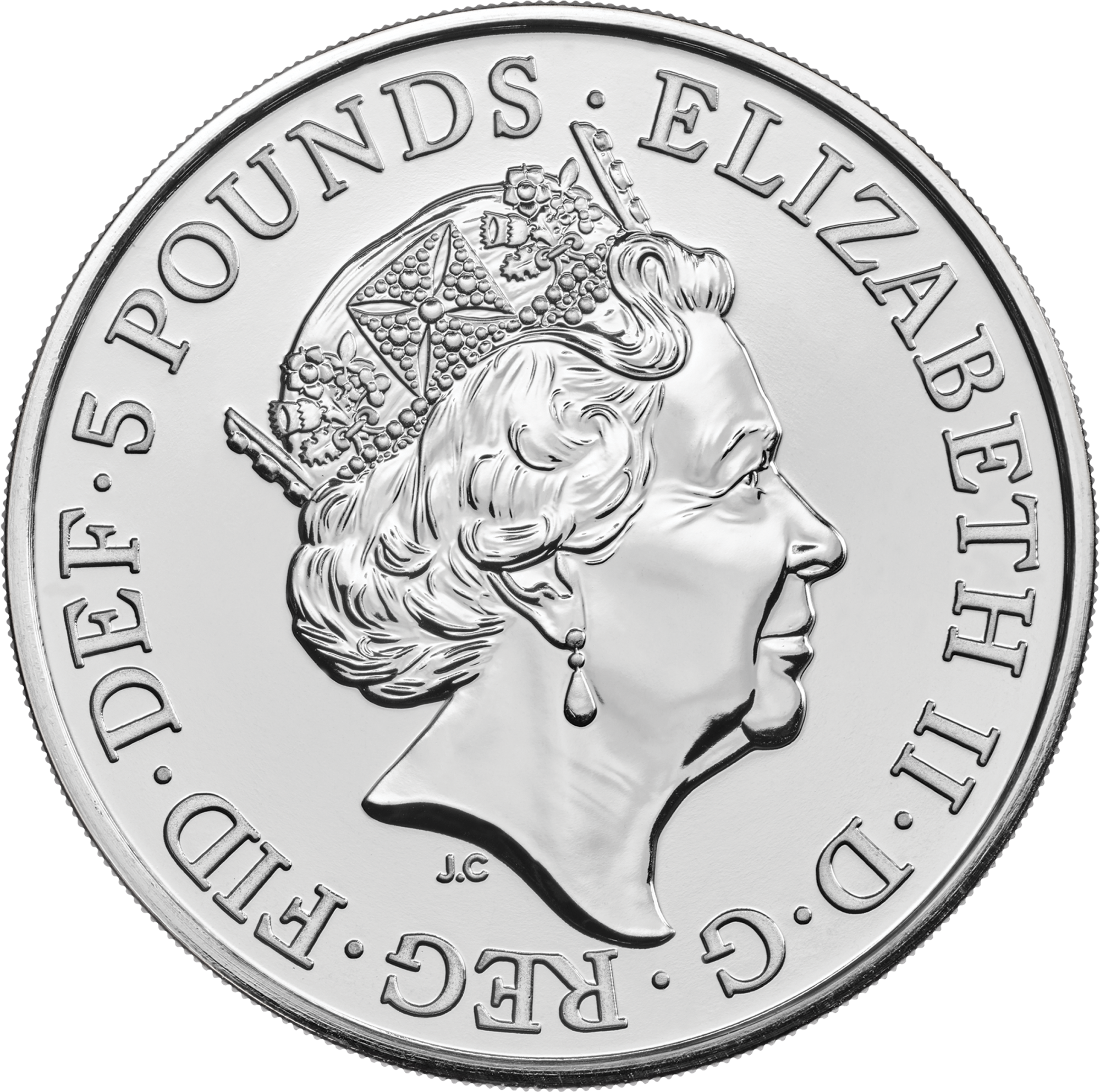 Celebrating the Royal Wedding - HRH Prince Harry & Ms. Meghan Markle 2018 UK £5 Brilliant Uncirculated Coin obv