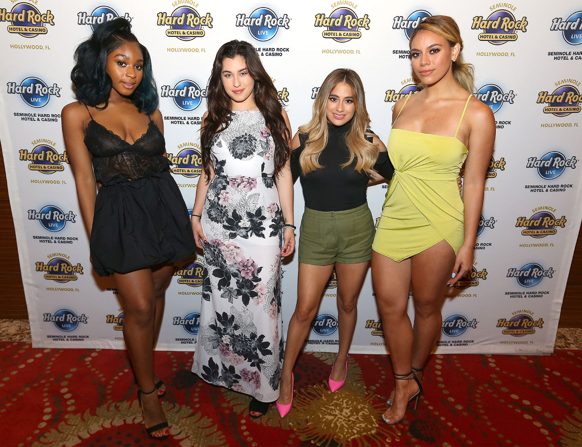 Fifth Harmony poses for a photo prior to performing for the last time in the United States  at  Seminole Hard Rock Hotel & Casino in Hollywood, FL