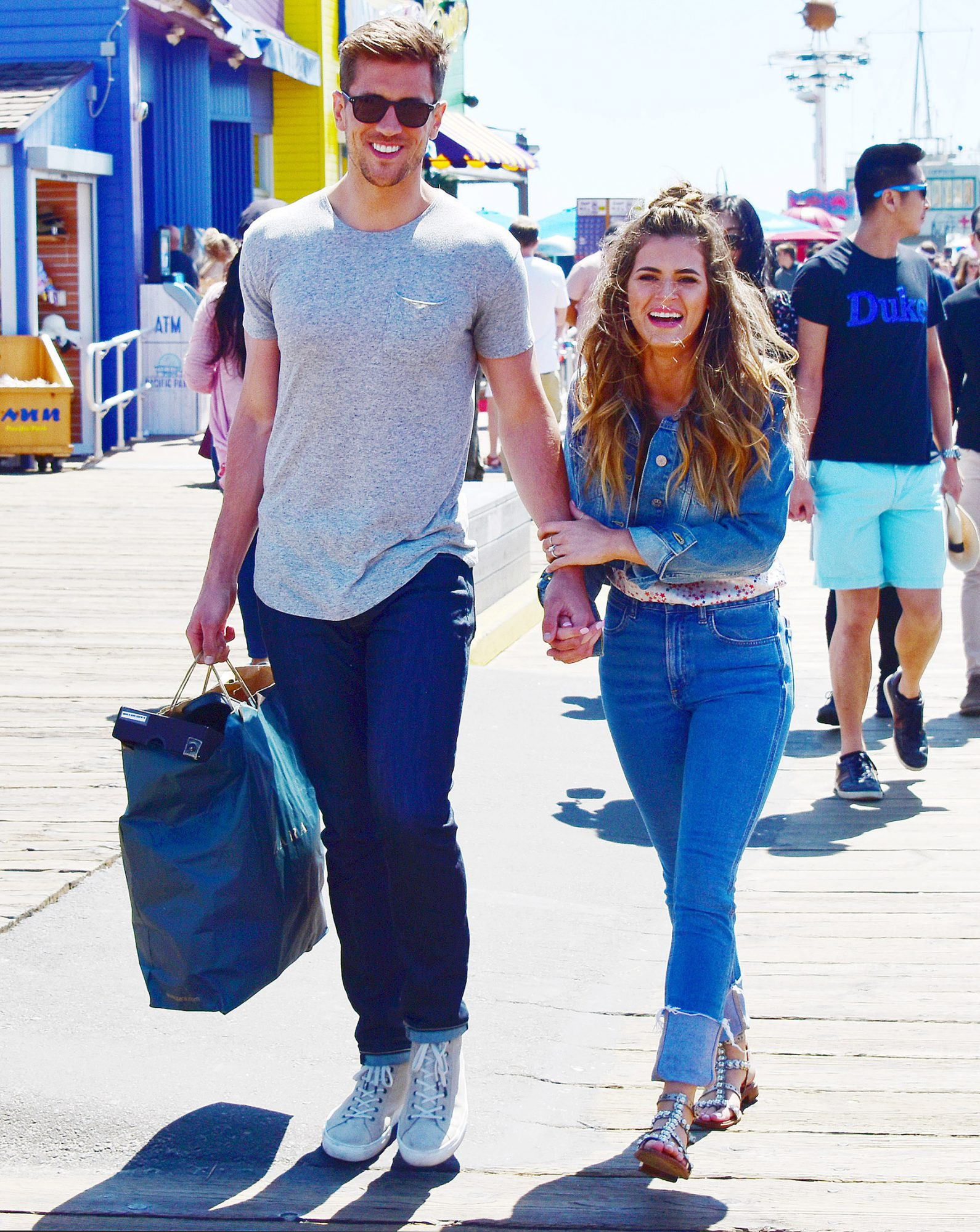 the Bachelorette JoJo Fletcher and her fiancé Jordan Rodgers enjoying the day at the Santa Monica Pier