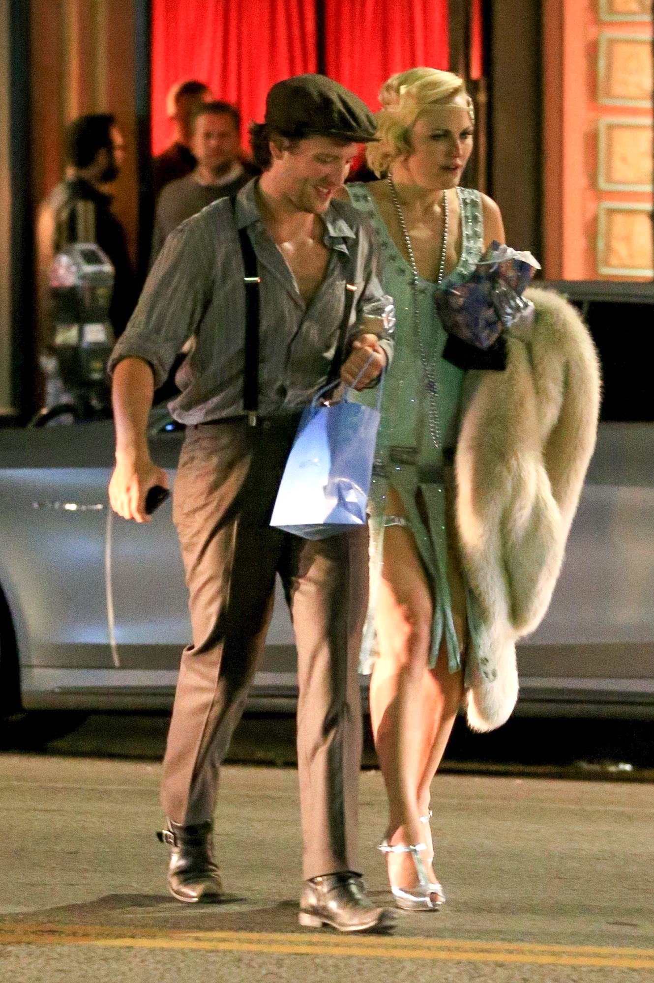 *EXCLUSIVE* Malin Akerman and her new beau Jack Donnelly are seen leaving her 1920's style Birthday Party