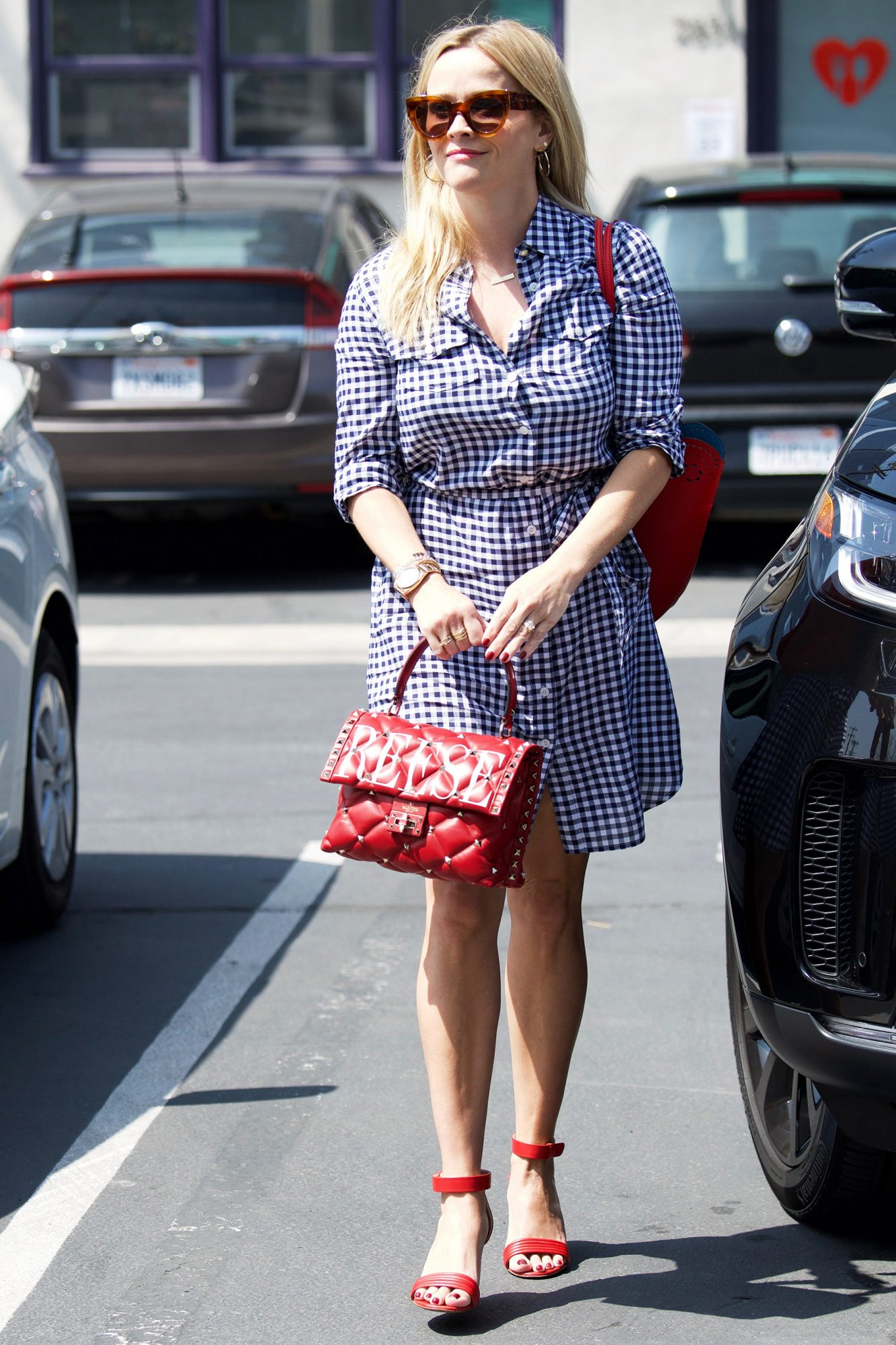 Reese Witherspoon on the way to her office.