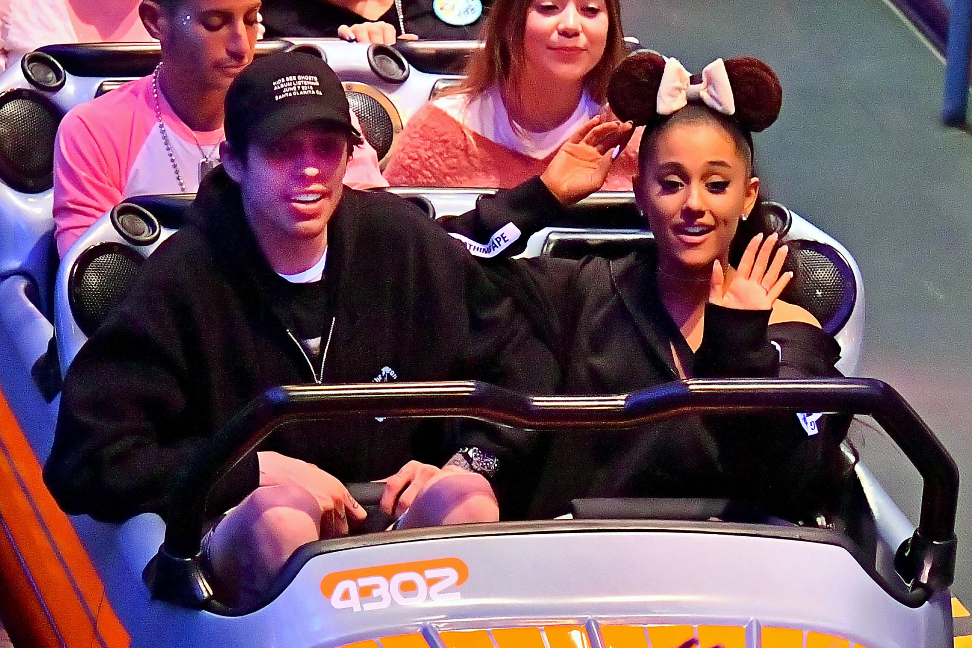 EXCLUSIVE: **PREMIUM RATES APPLY** STRICTLY NO WEB UNTIL 830AM PST JUNE 13TH 2018**  Ariana Grande and her new Fiancé Pete Davidson spend a fun evening at Disneyland after announcing their engagement