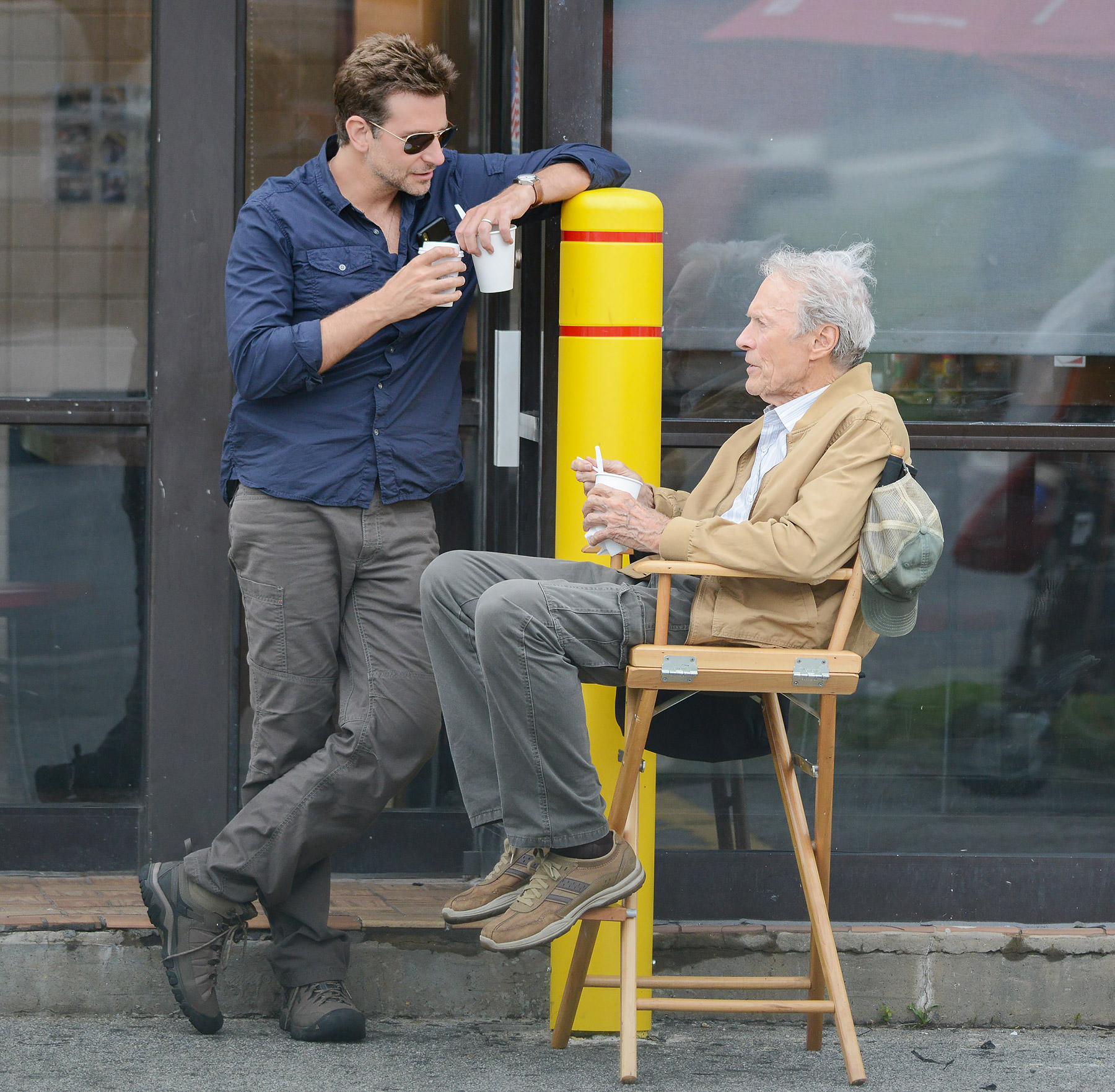 EXCLUSIVE: Bradley Cooper and Clint Eastwood take ice cream break together while filming The Mule