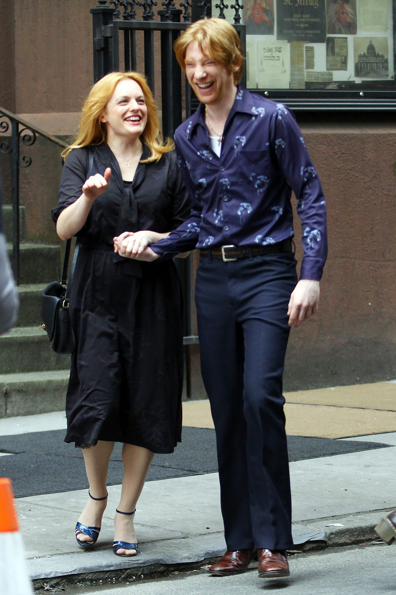 Elizabeth Moss, Domhnall Gleeson, Tiffany Haddish, Melissa McCarthy and Nick Offerman share a day of non stop laughter as they film a funeral scene for 'The Kitchen' in NYC