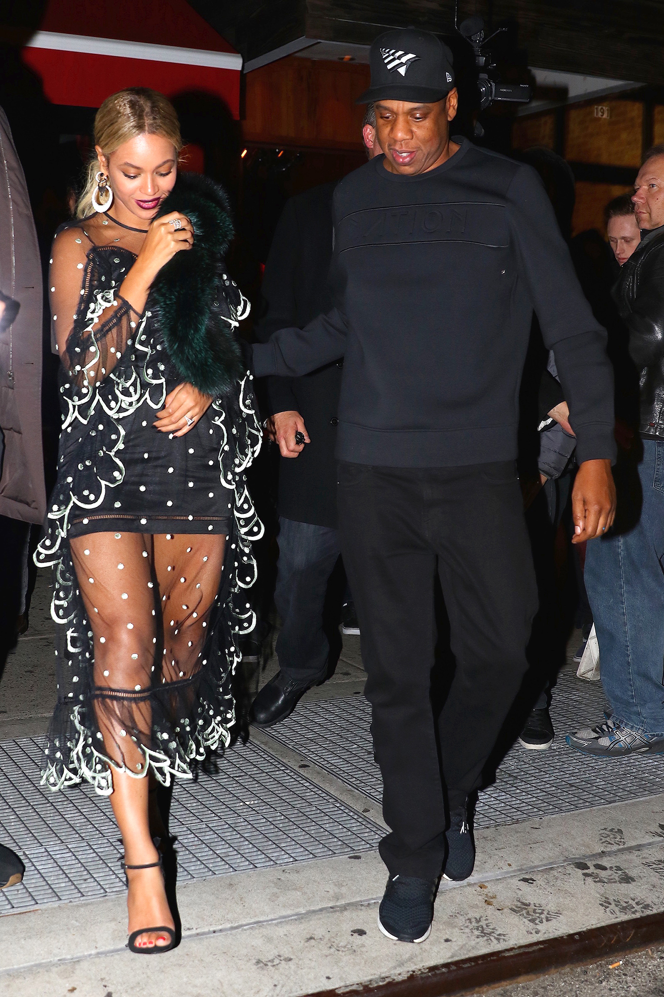 New York, NY - The power couple of the century, Beyonce and Jay Z, are seen arriving to the SNL after party with a very proud Solange who made her musical debut on the popular sketch show. They were also joined by Tina Knowles, and Solange's devoted husband Alan Ferguson. AKM-GSI