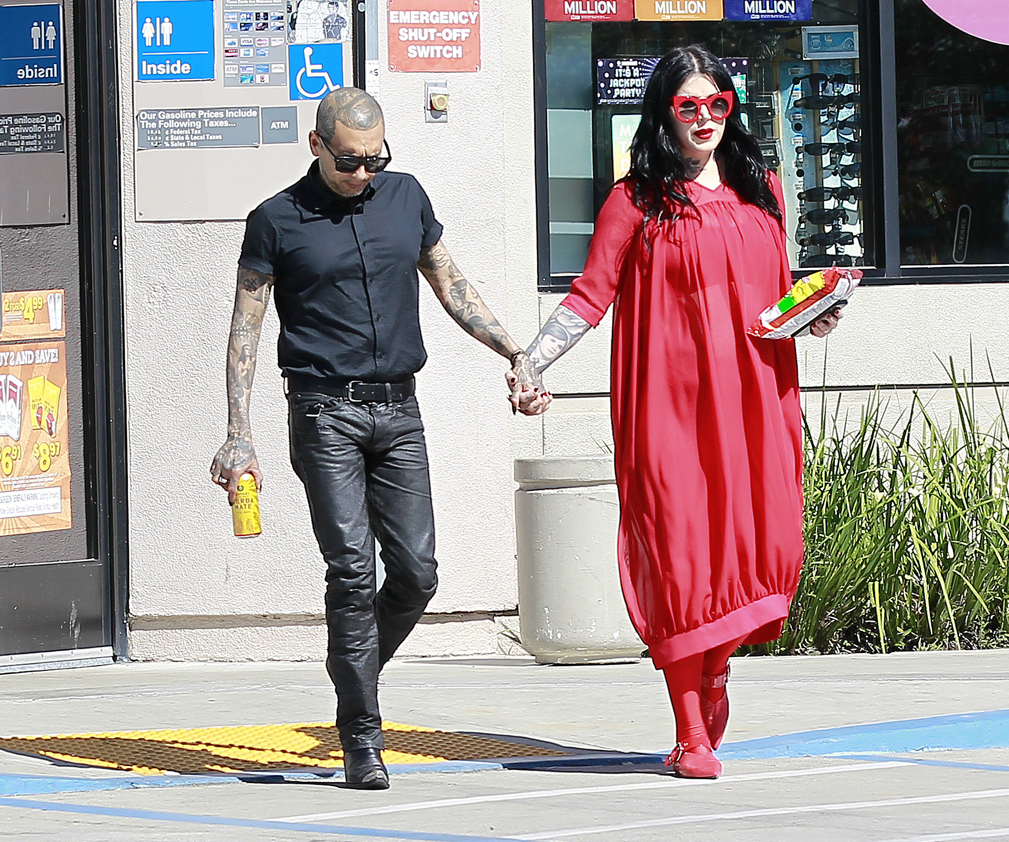EXCLUSIVE: Newly married mom to be Kat Von D and her husband Leafar Seyer make a stop for snacks and drinks as they head off for their honeymoon