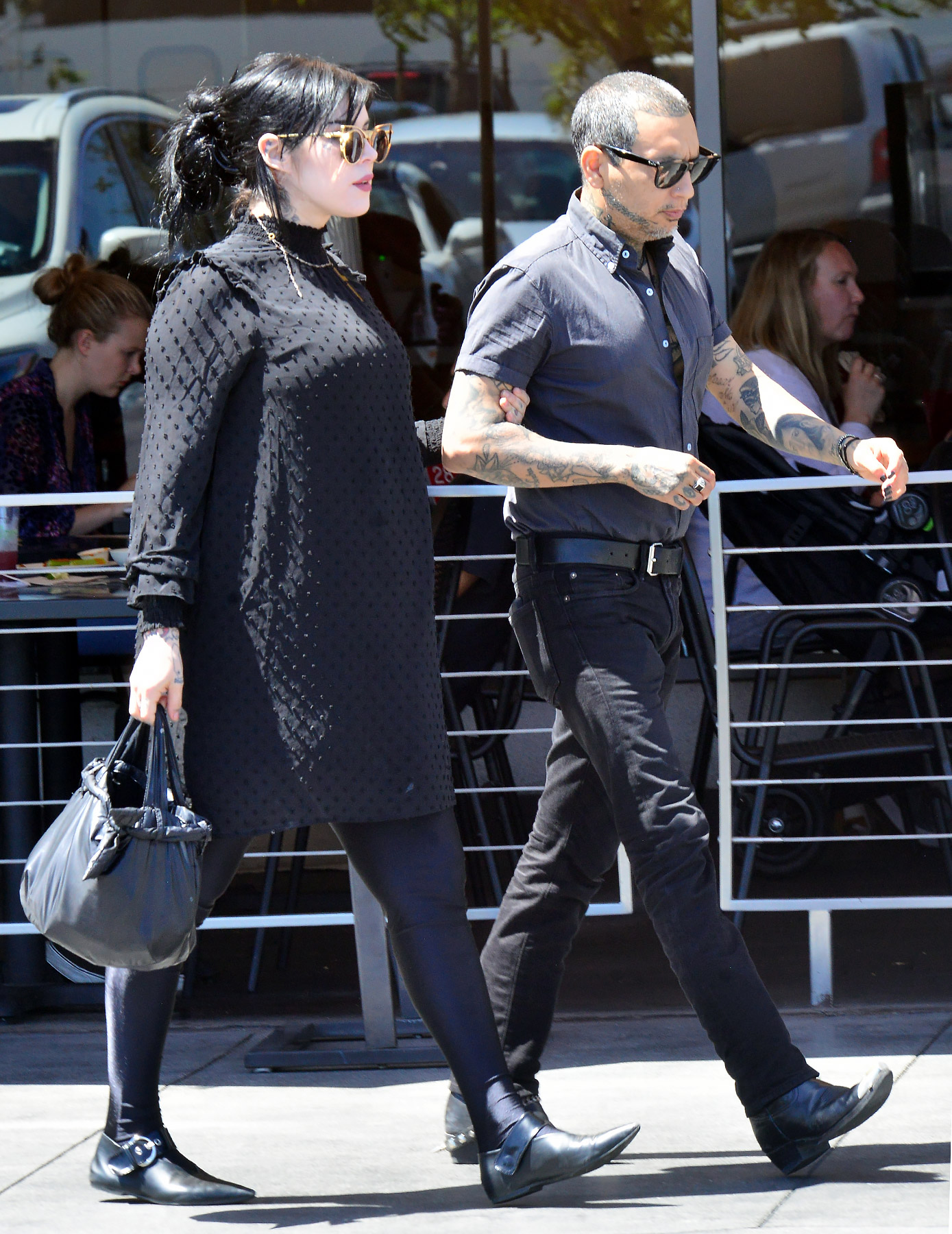 EXCLUSIVE: Tattoo Artist Kat Von D, who is several months pregnant with her first child is leaves Veggie Grill in West Hollywood, Ca with her husband Leafer Sayer