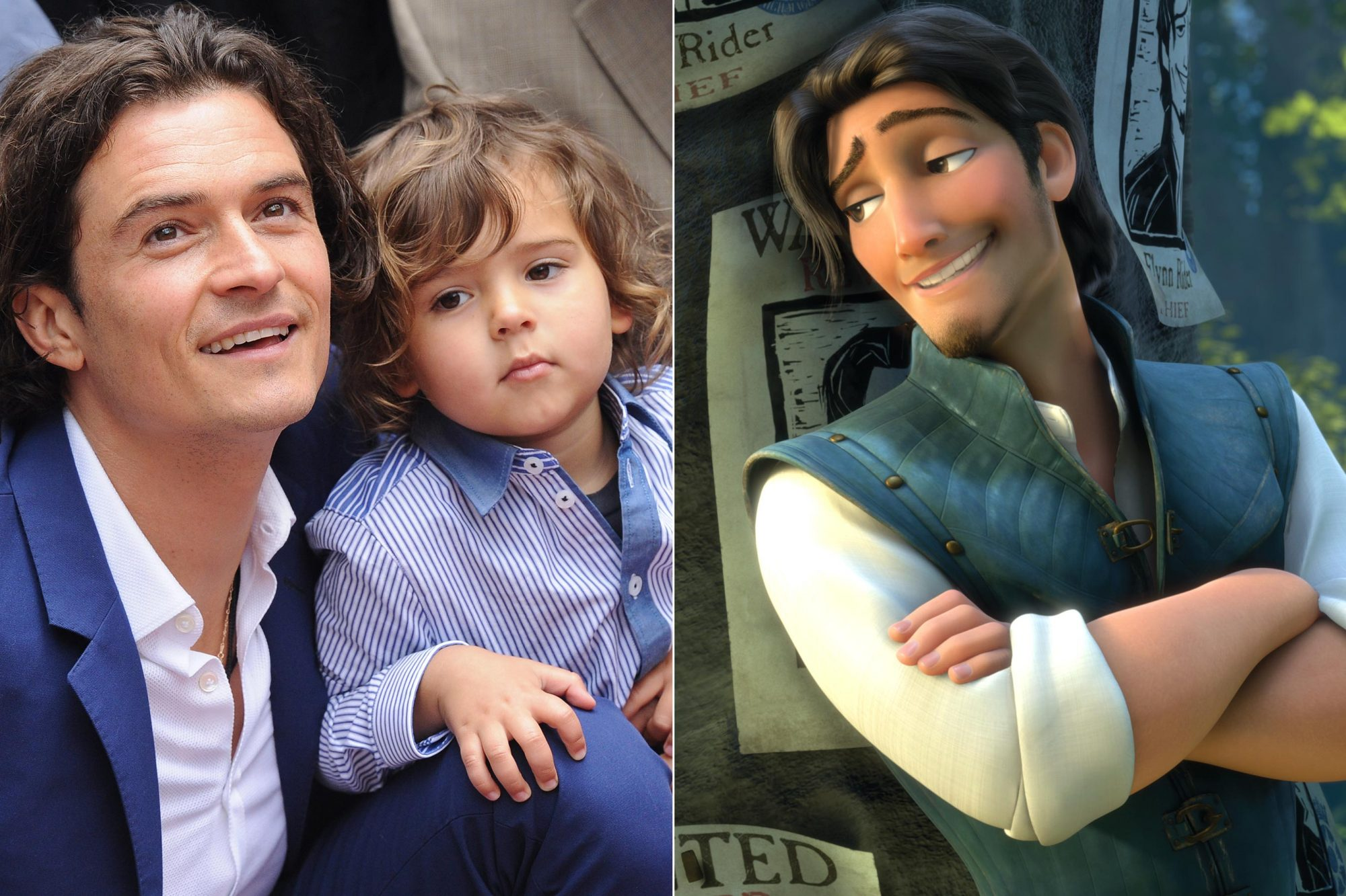 Orlando Bloom's son Flynn + Flynn Rider from Tangled