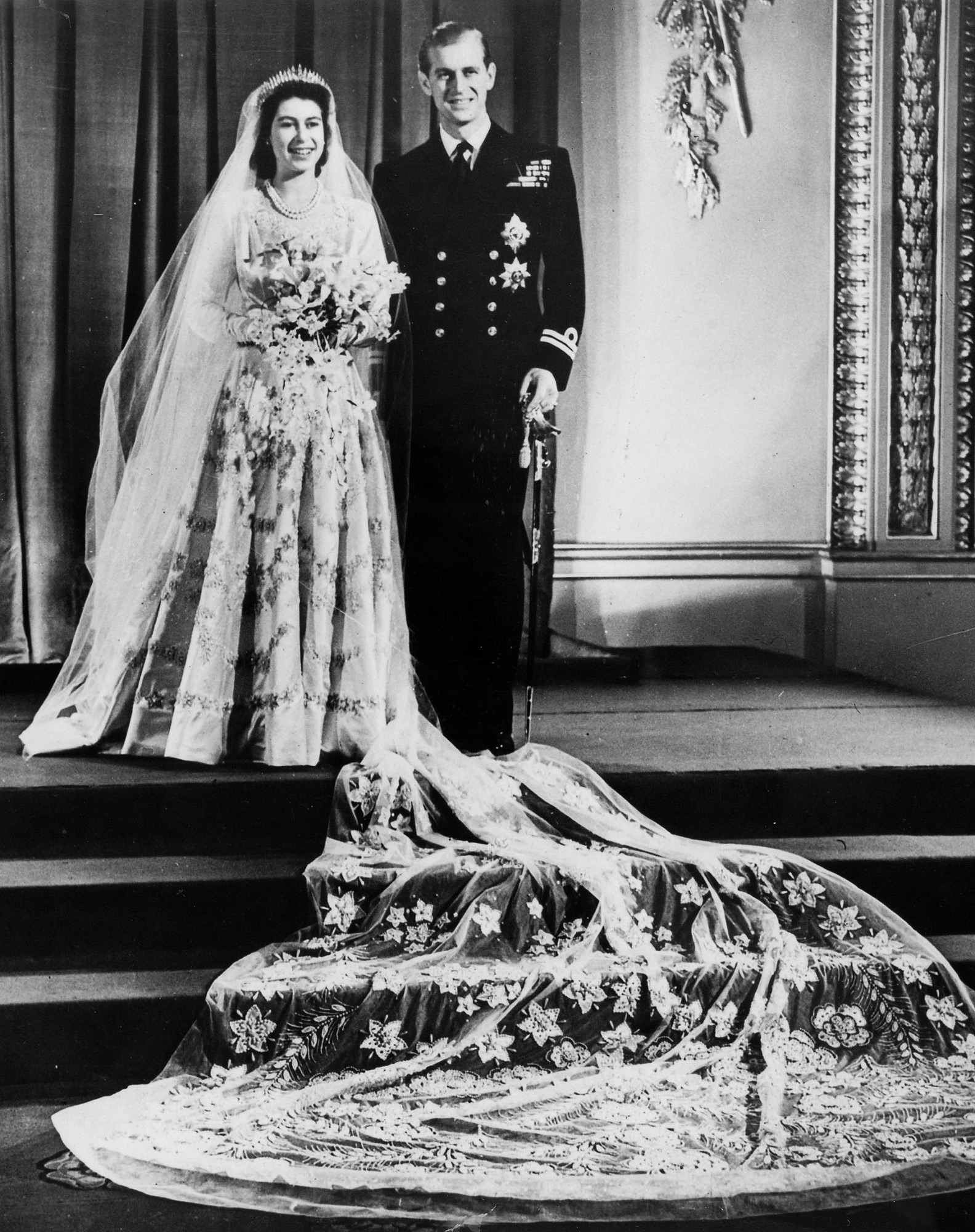 British Royalty, pic: 20th November 1947, Buckingham Palace, London, The wedding of Princess Elizabeth and the Duke of Edinburgh showing the couple at the Palace after their wedding at Westminster Abbey (Photo by Popperfoto/Getty Images)