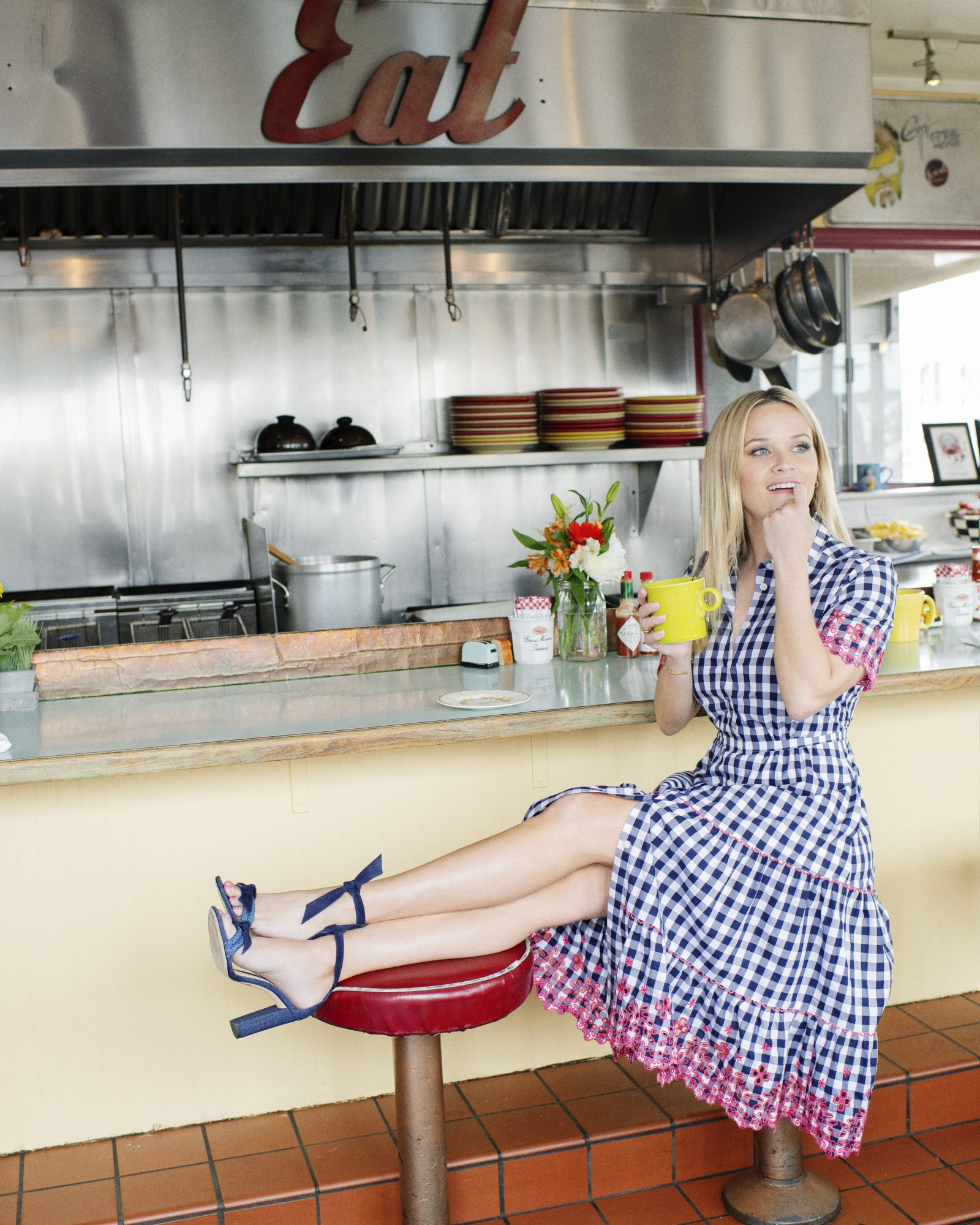 reese witherspoon draper james gingham dress