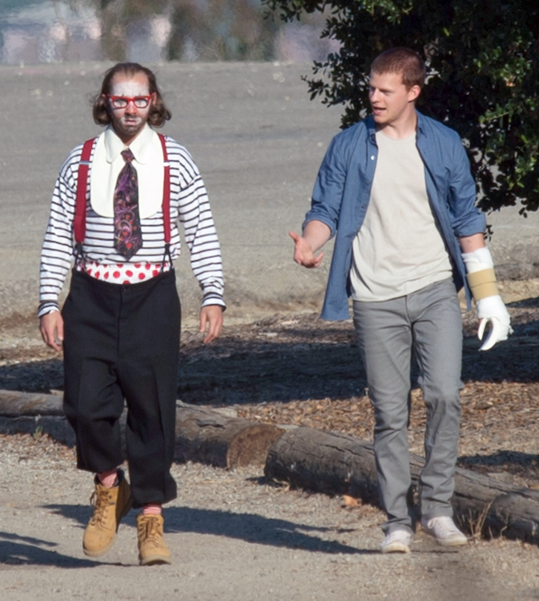 EXCLUSIVE: Shia LaBeouf and Lucas Hedges are Pictured on the set of 'Honey Boy' in Los Angeles.