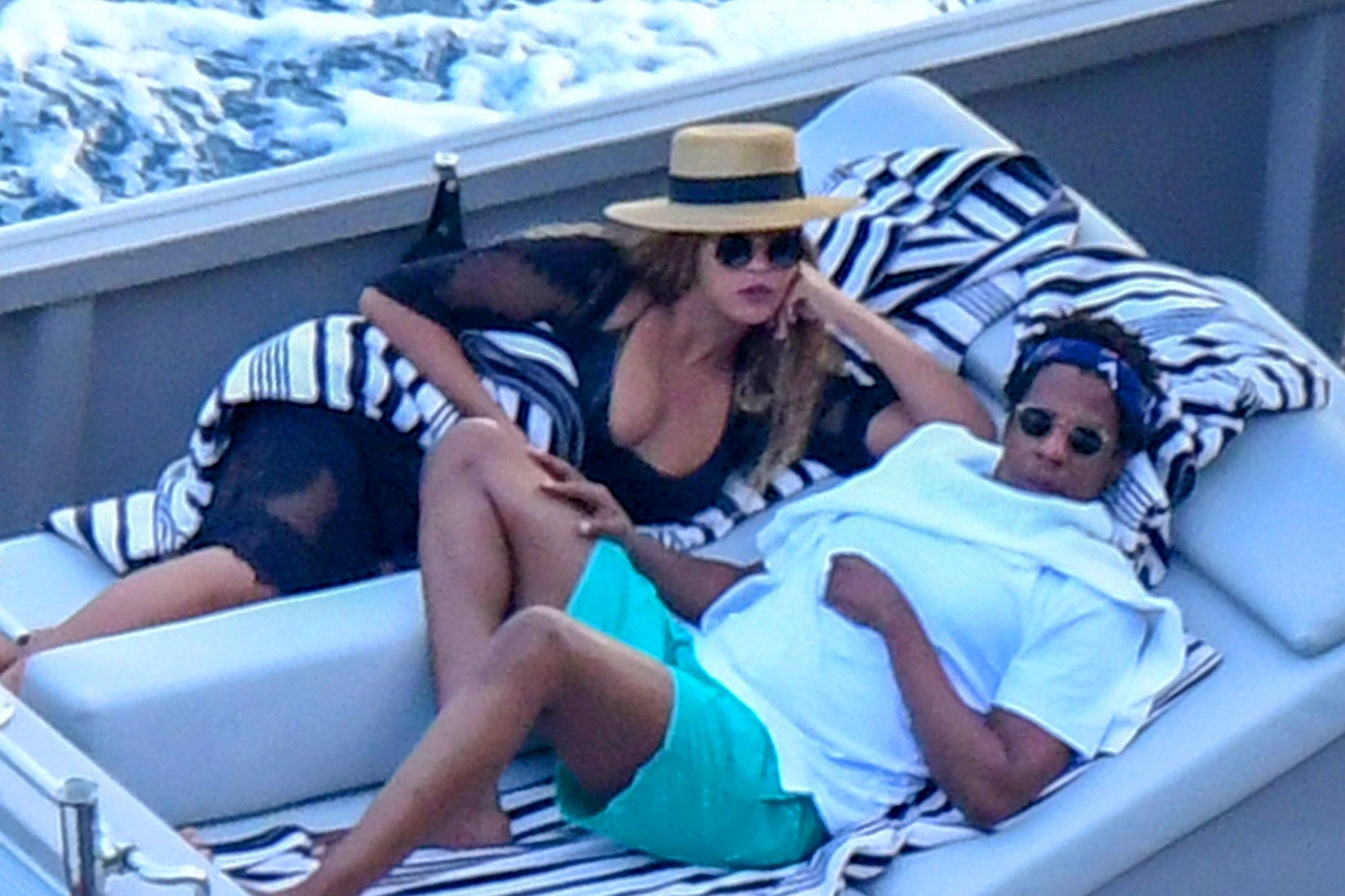 Beyonce and Jay-Z relax onboard a yacht on the Amalfi Coast