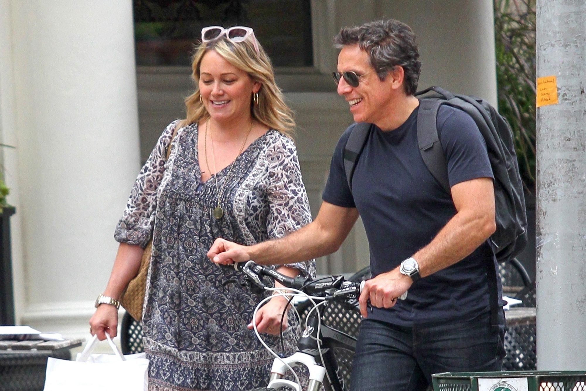 Friendly exes Ben Stiller and Christine Taylor are all smiles in NYC