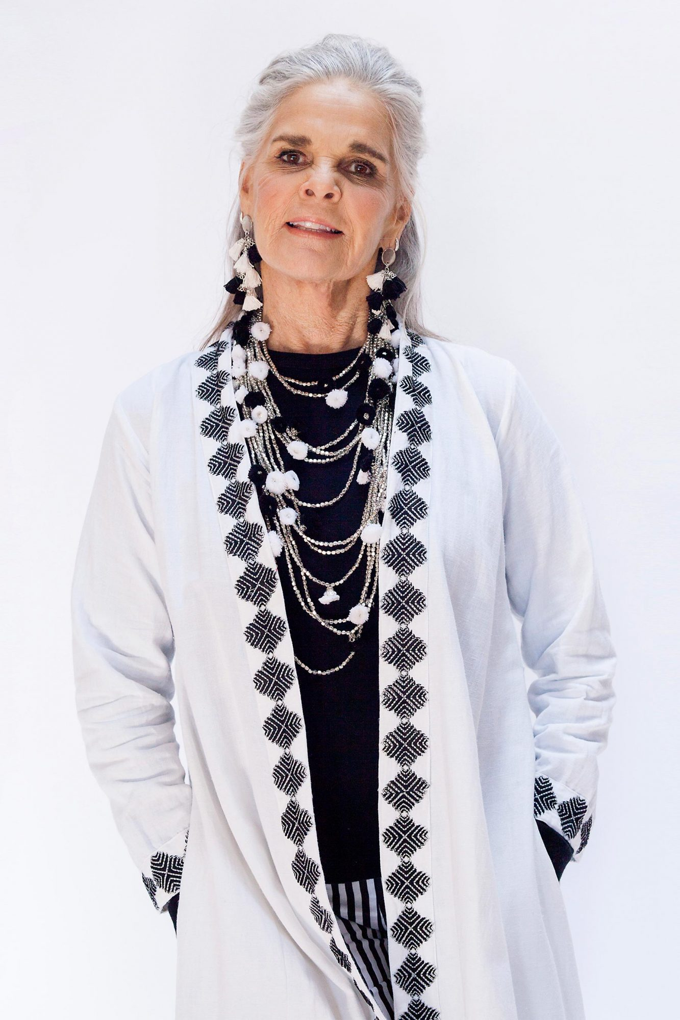 Ali MacGraw modeling for the latest Ibu collection, May 2017.